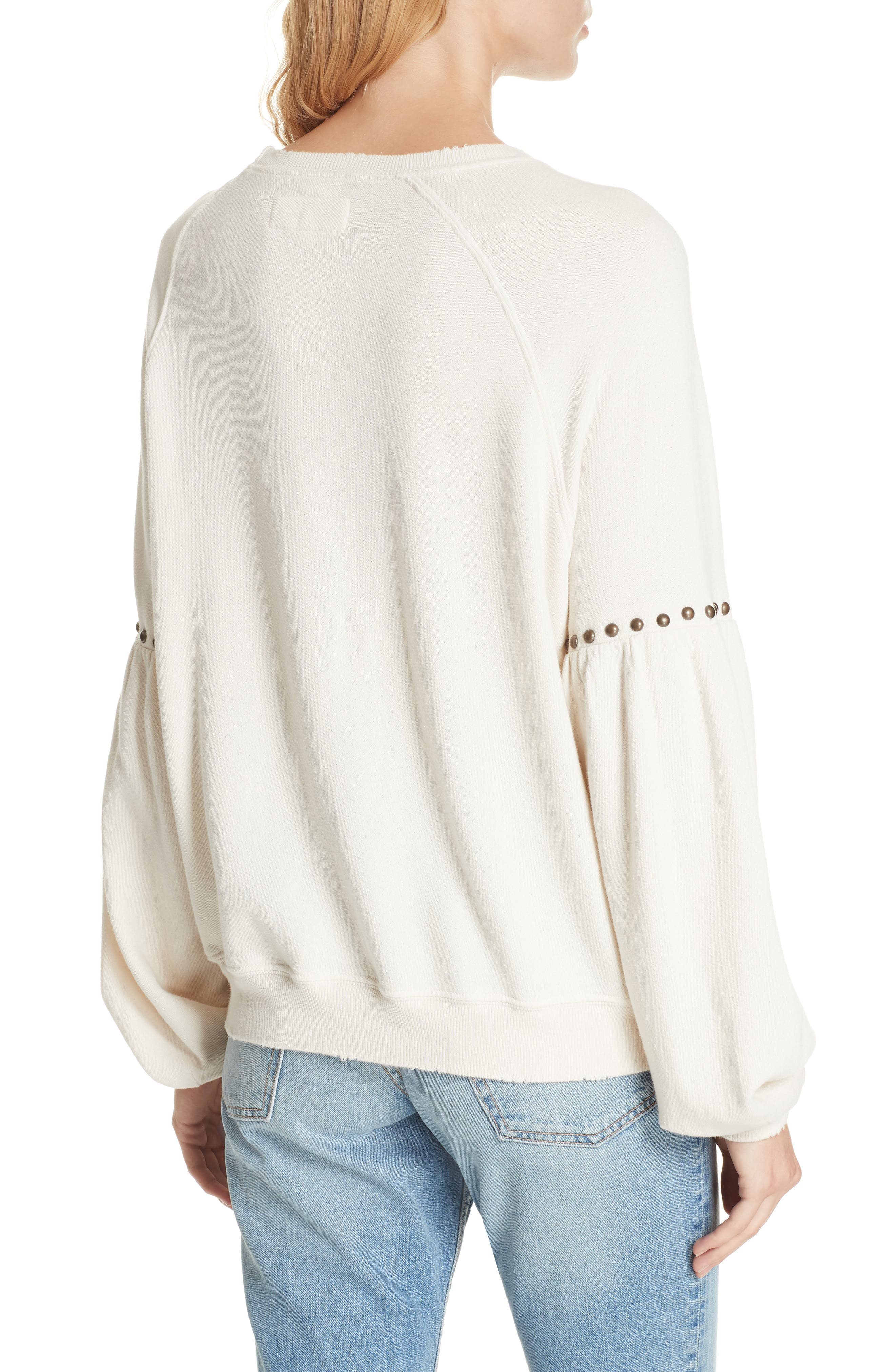 The Bishop Sleeve Studded Sweatshirt,                             Alternate thumbnail 2, color,                             Washed White W/ Studs