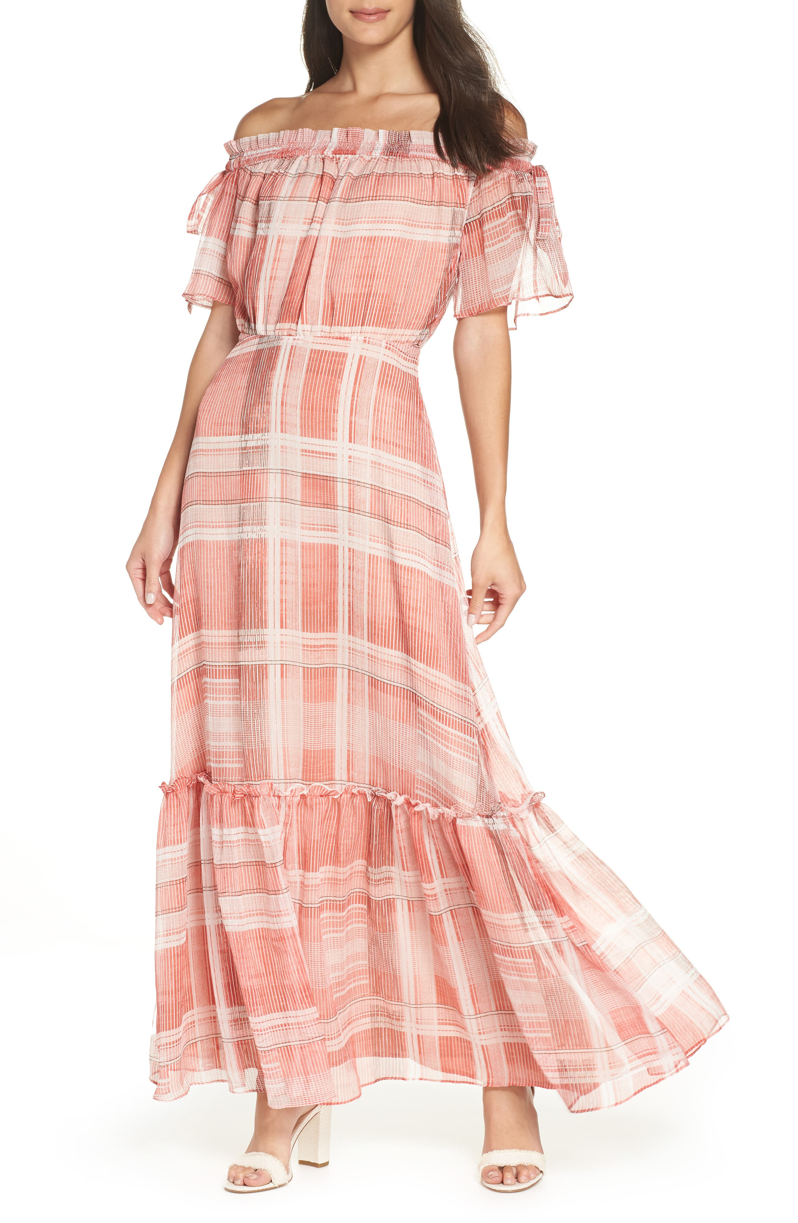 Plaid Off the Shoulder Maxi Dress,                         Main,                         color, Red/ White