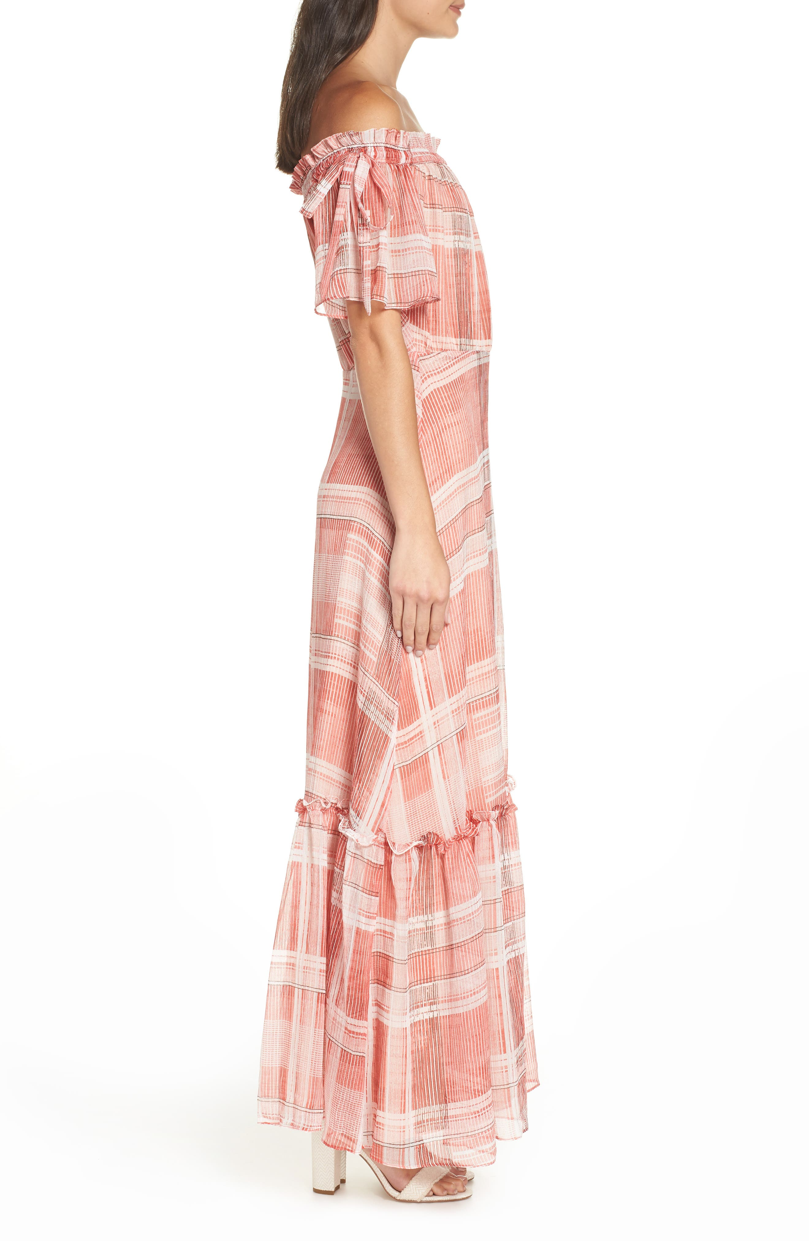 Plaid Off the Shoulder Maxi Dress,                             Alternate thumbnail 3, color,                             Red/ White