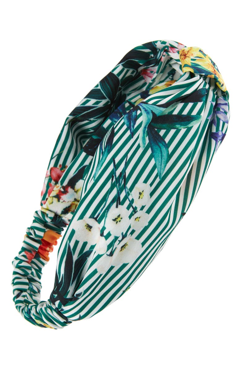 Floral Stripe Knot Head Wrap,                         Main,                         color, Green