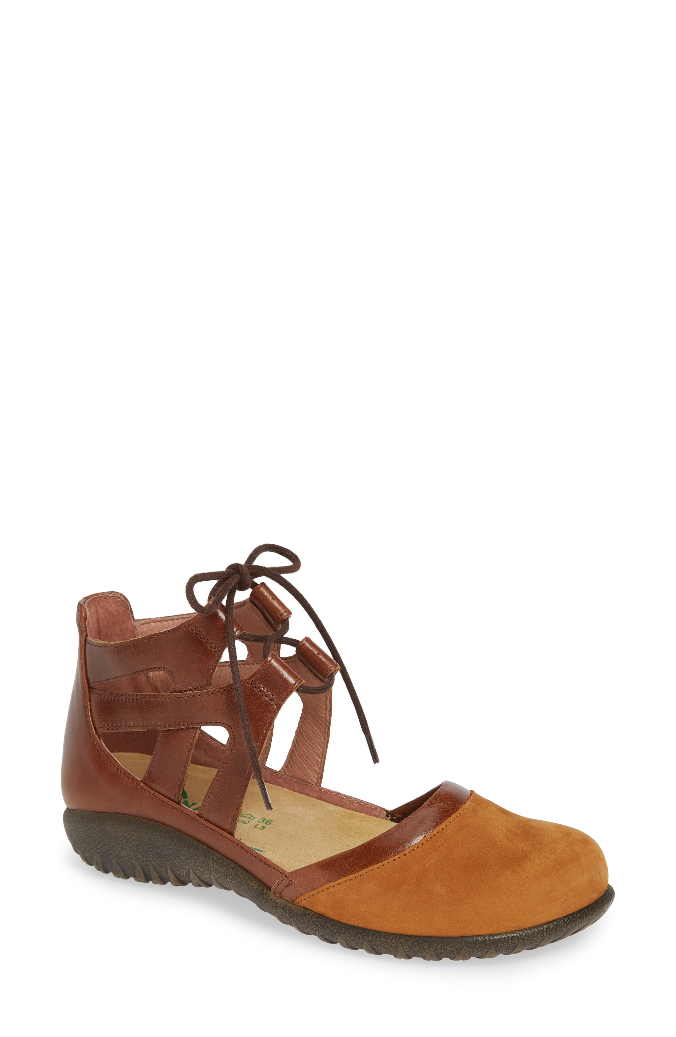 Kata Lace-Up Sandal,                         Main,                         color, Amber/ Maple Brown Nubuck