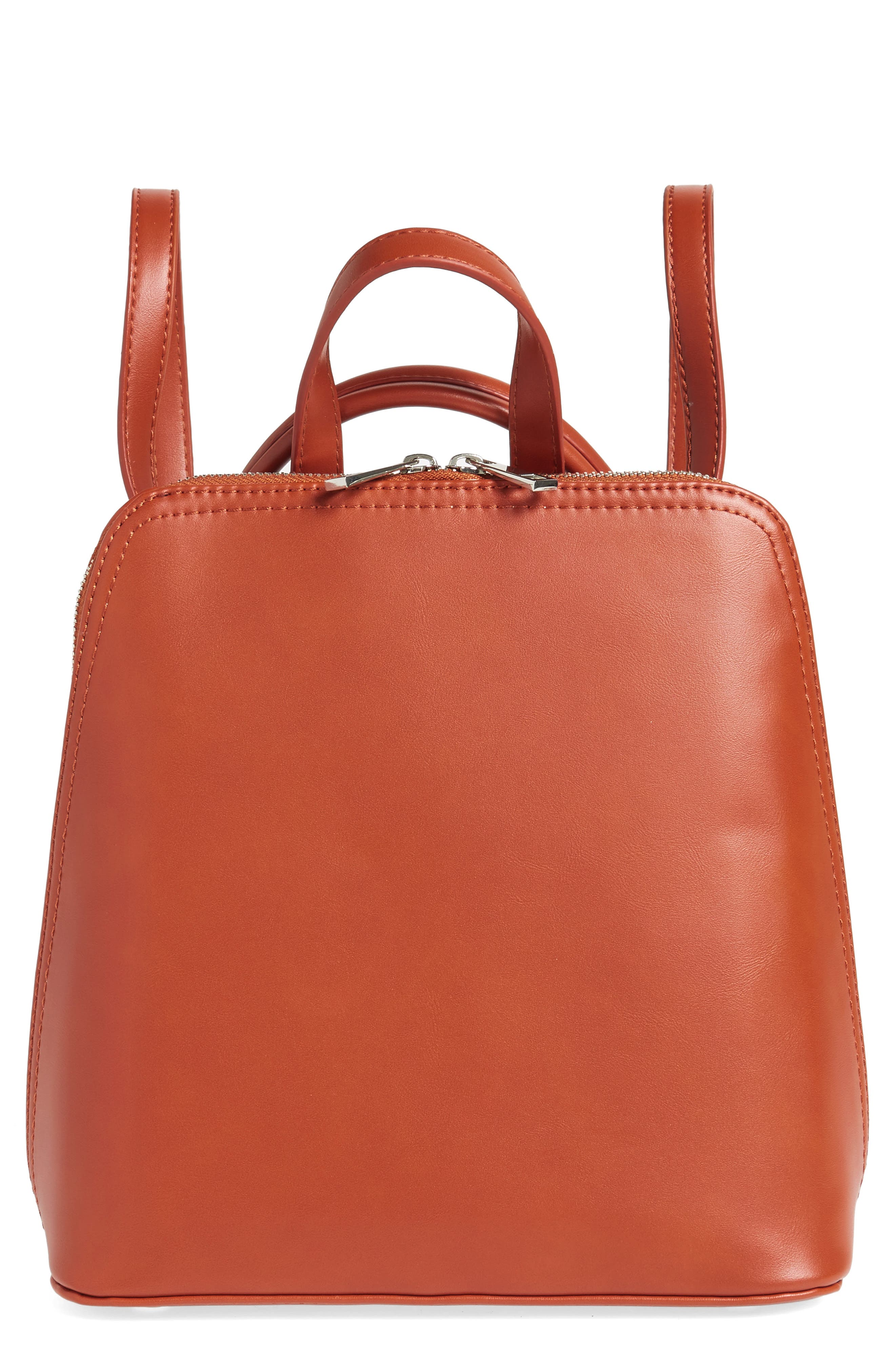 STREET LEVEL Structured Faux Leather Backpack - Orange