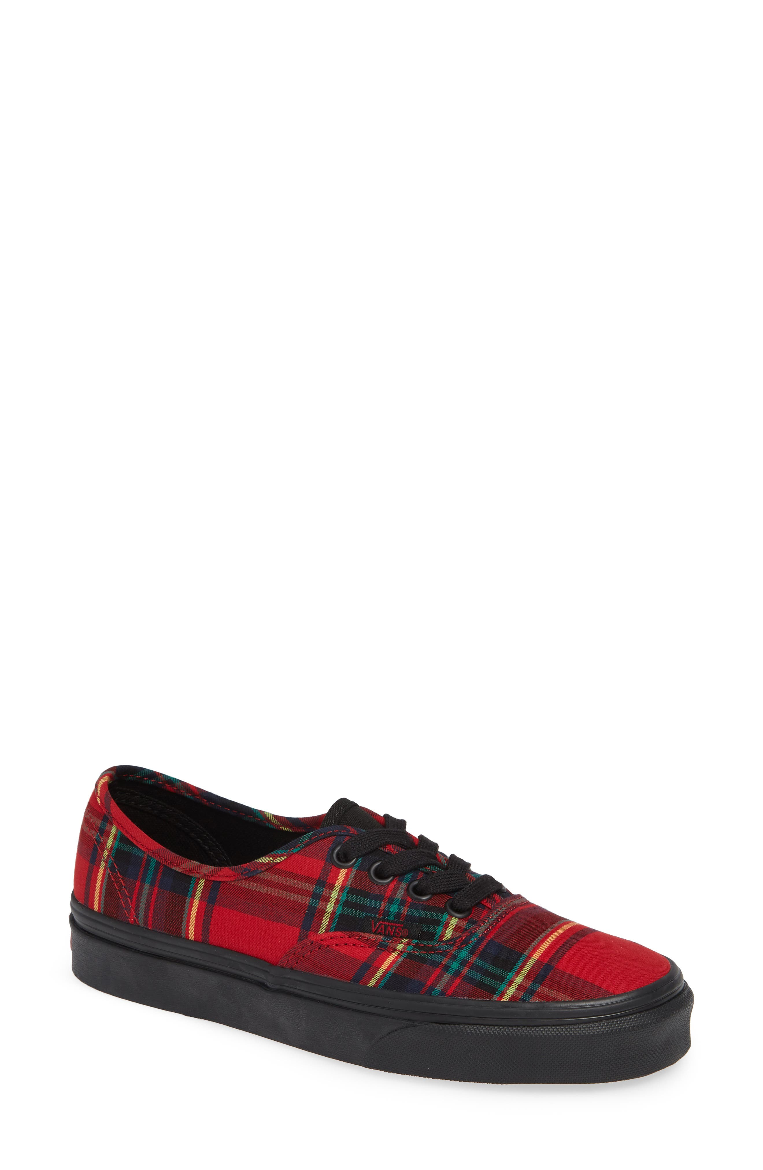 'Authentic' Sneaker,                             Main thumbnail 1, color,                             Plaid Mix Red