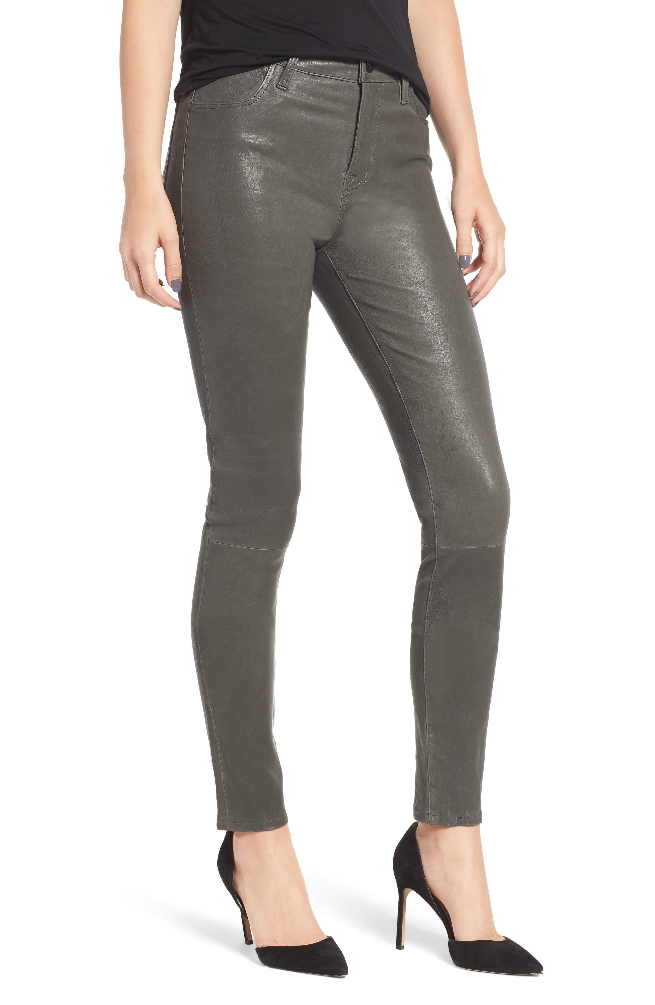 'Maria' Lambskin Leather Leggings,                             Main thumbnail 1, color,                             Granite