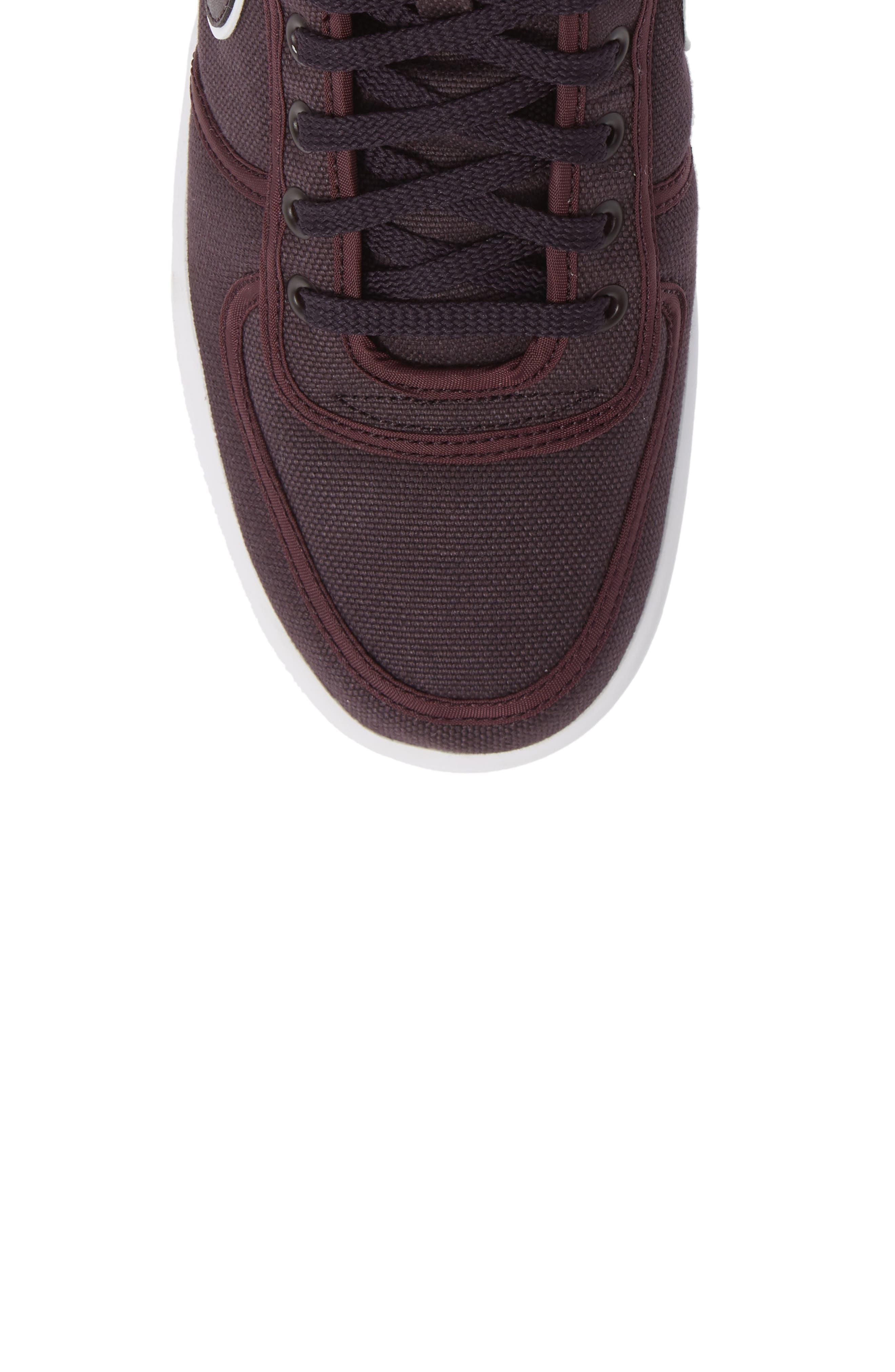 Vandal High Supreme High Top Sneaker,                             Alternate thumbnail 4, color,                             Burgundy Ash/ White