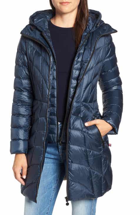 Bernardo Glossy Quilted Walker Coat (Regular   Petite) 6fee5e4359