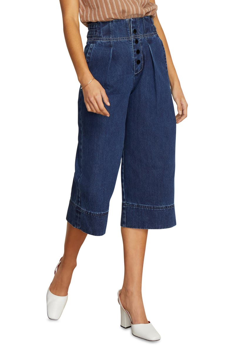 Button Fly High Rise Wide Leg Crop Nonstretch Jeans