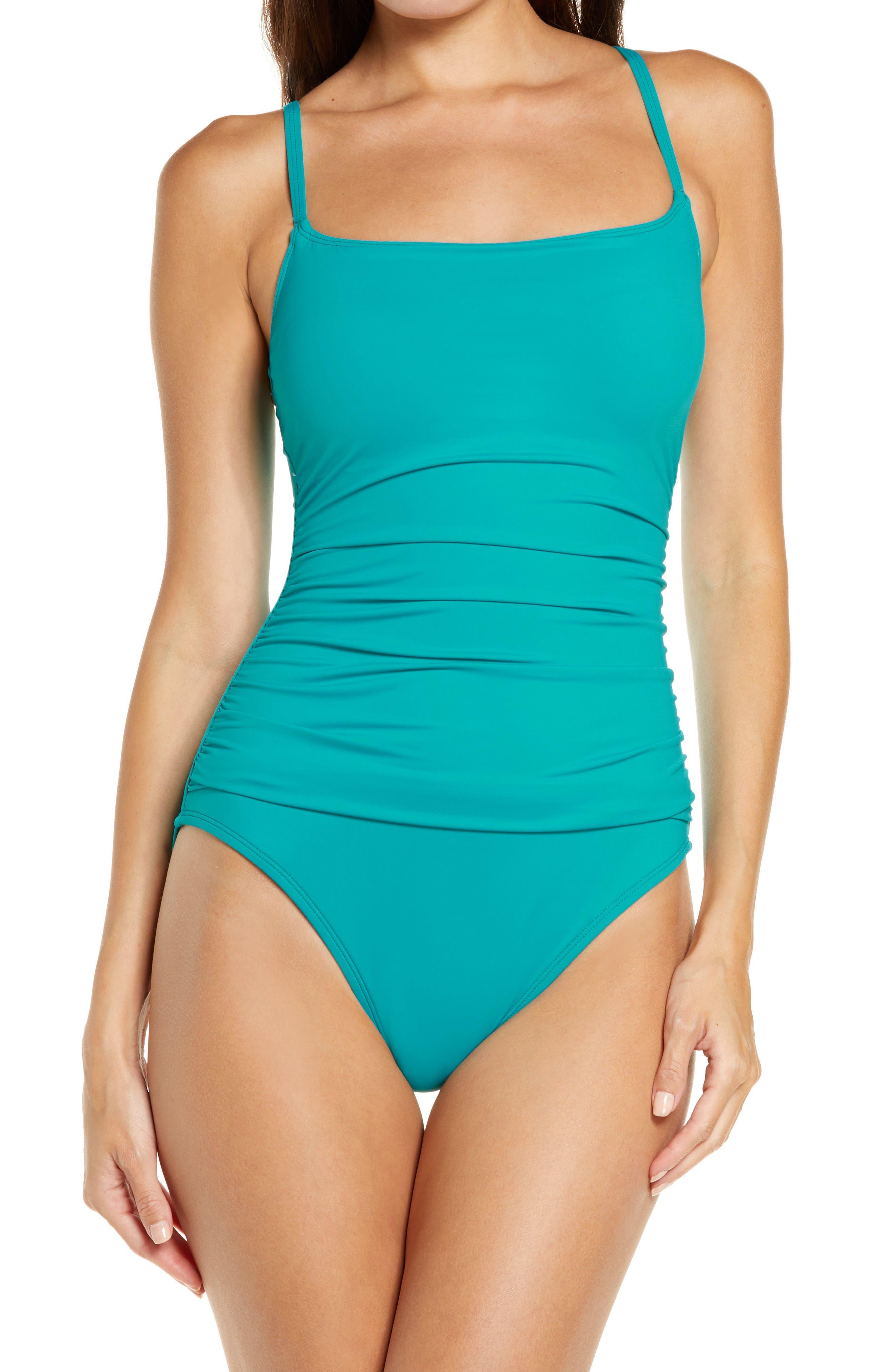 'Island Goddess' One-Piece Swimsuit,                         Main,                         color, Marina