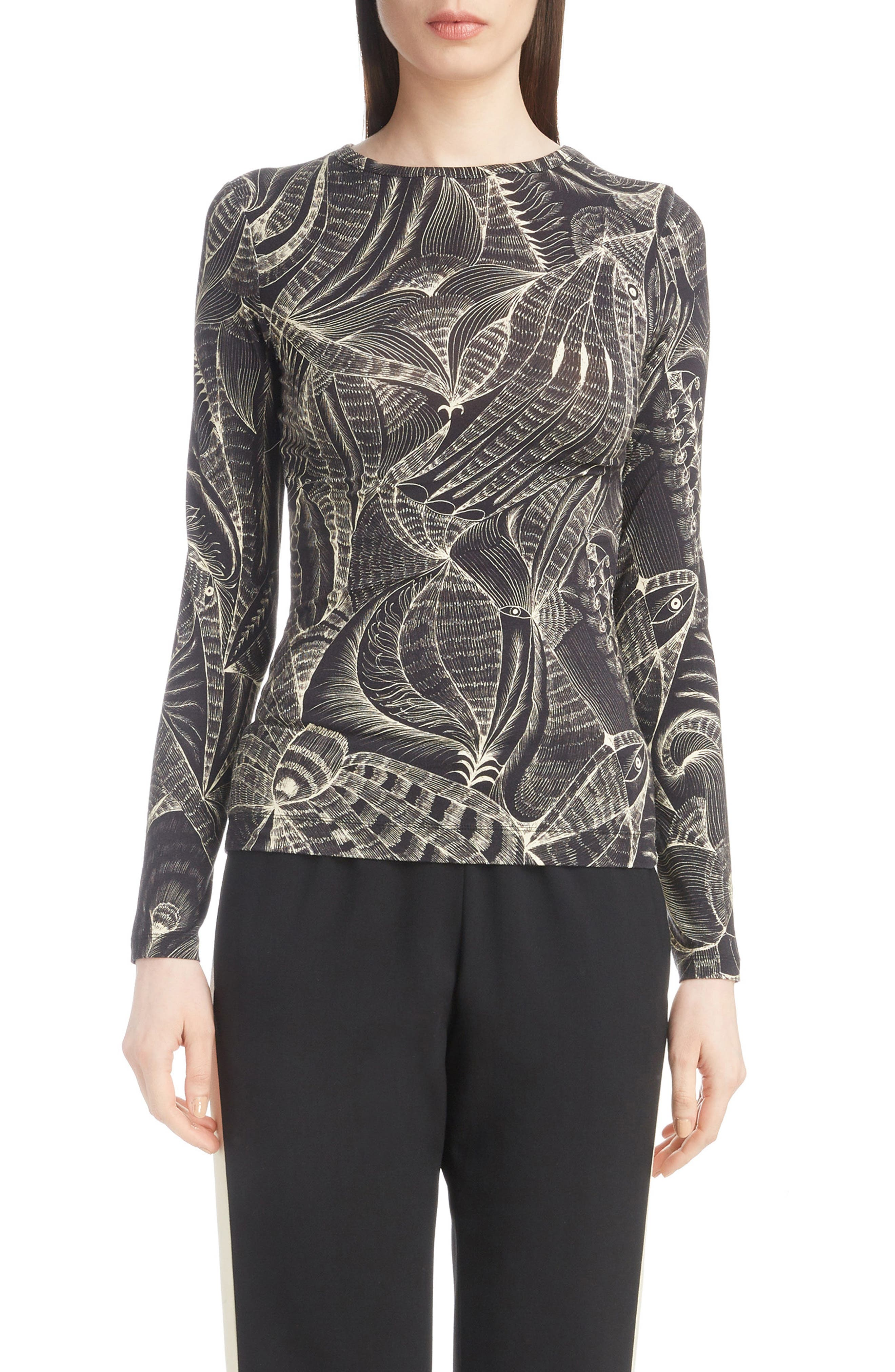 Tattoo Print Fitted Knit Top,                         Main,                         color, Black