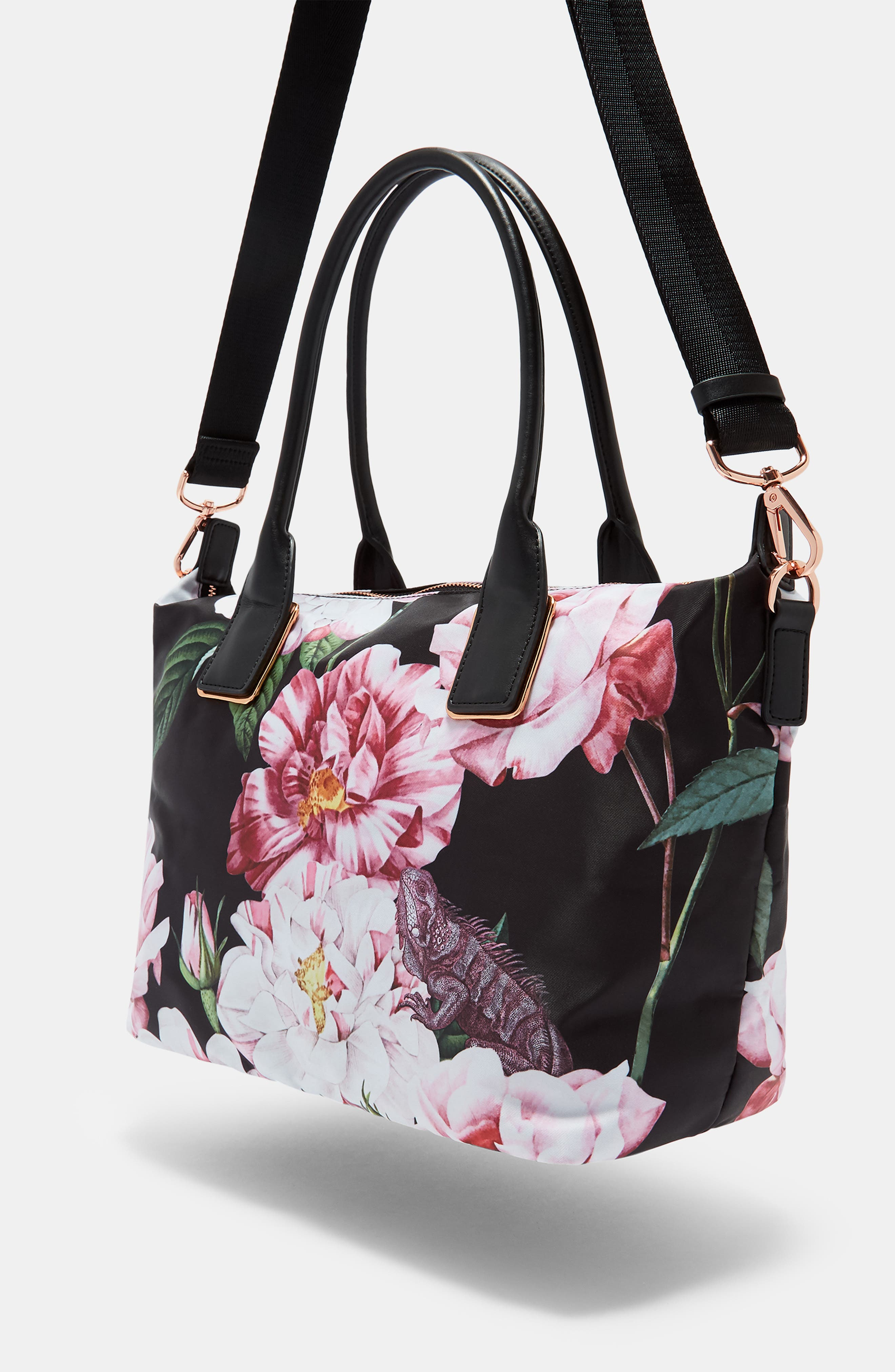 Small Iguazu Print Nylon Tote,                             Alternate thumbnail 5, color,                             Black