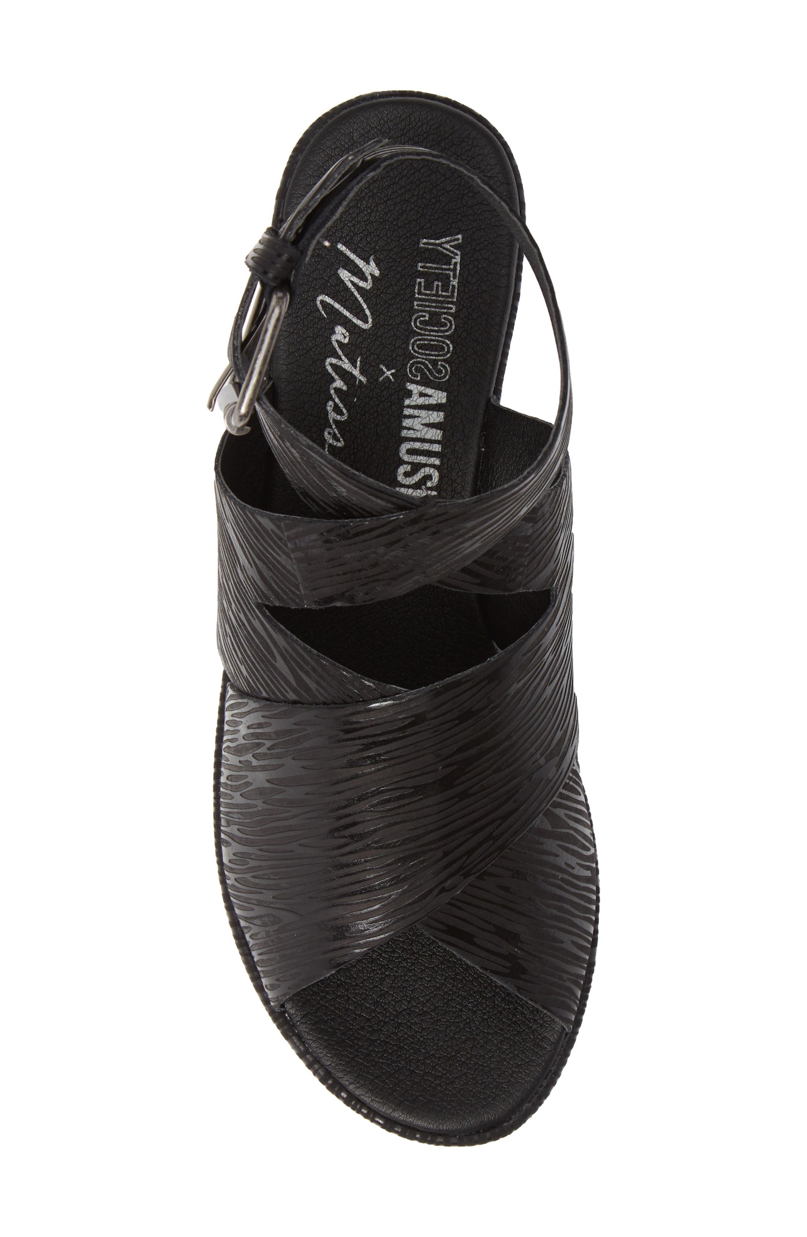 Runway Wedge Sandal,                             Alternate thumbnail 5, color,                             Black Lizard Print Leather