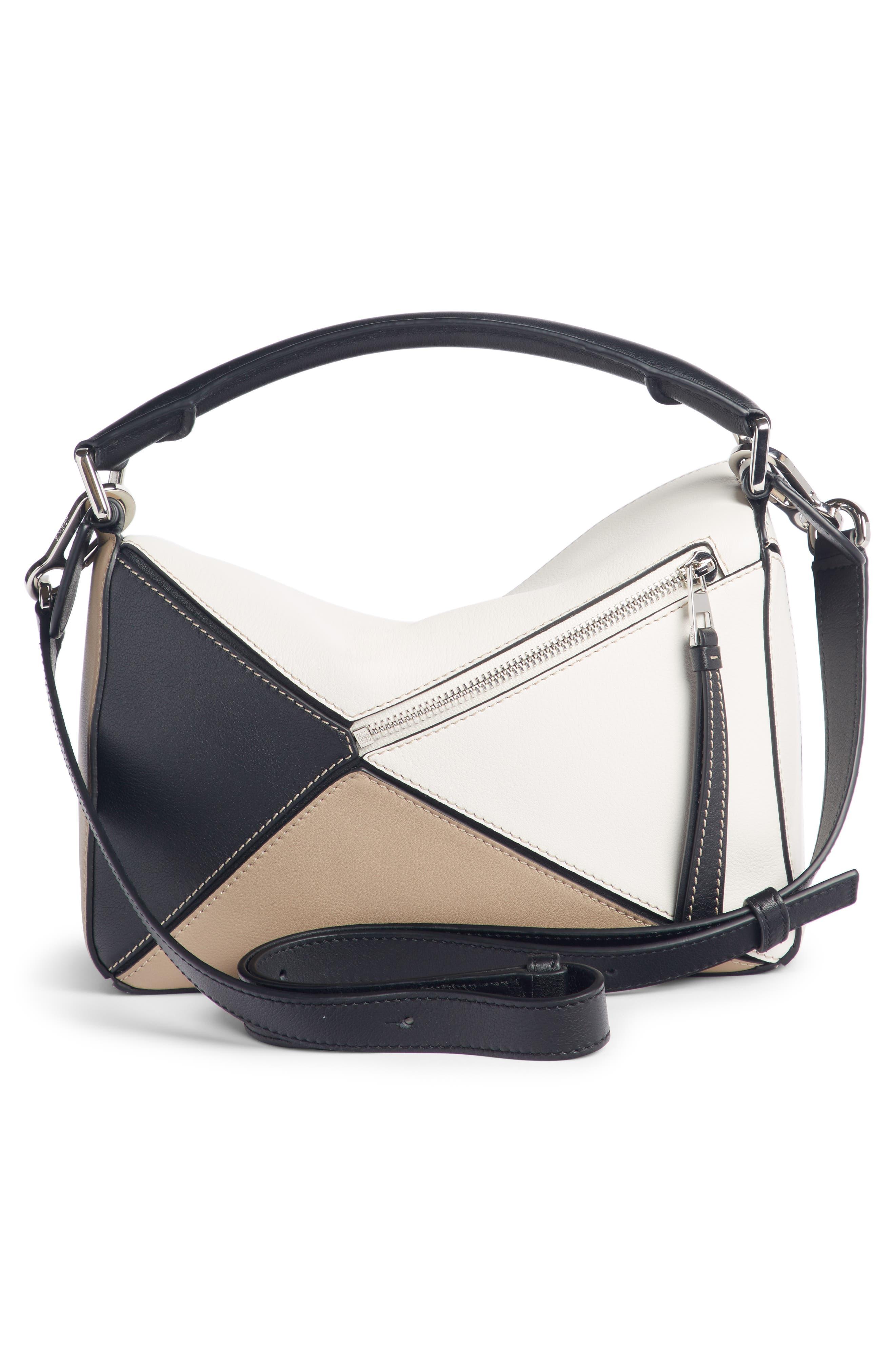 Puzzle Calfskin Leather Bag,                             Alternate thumbnail 4, color,                             Soft White/ Sand