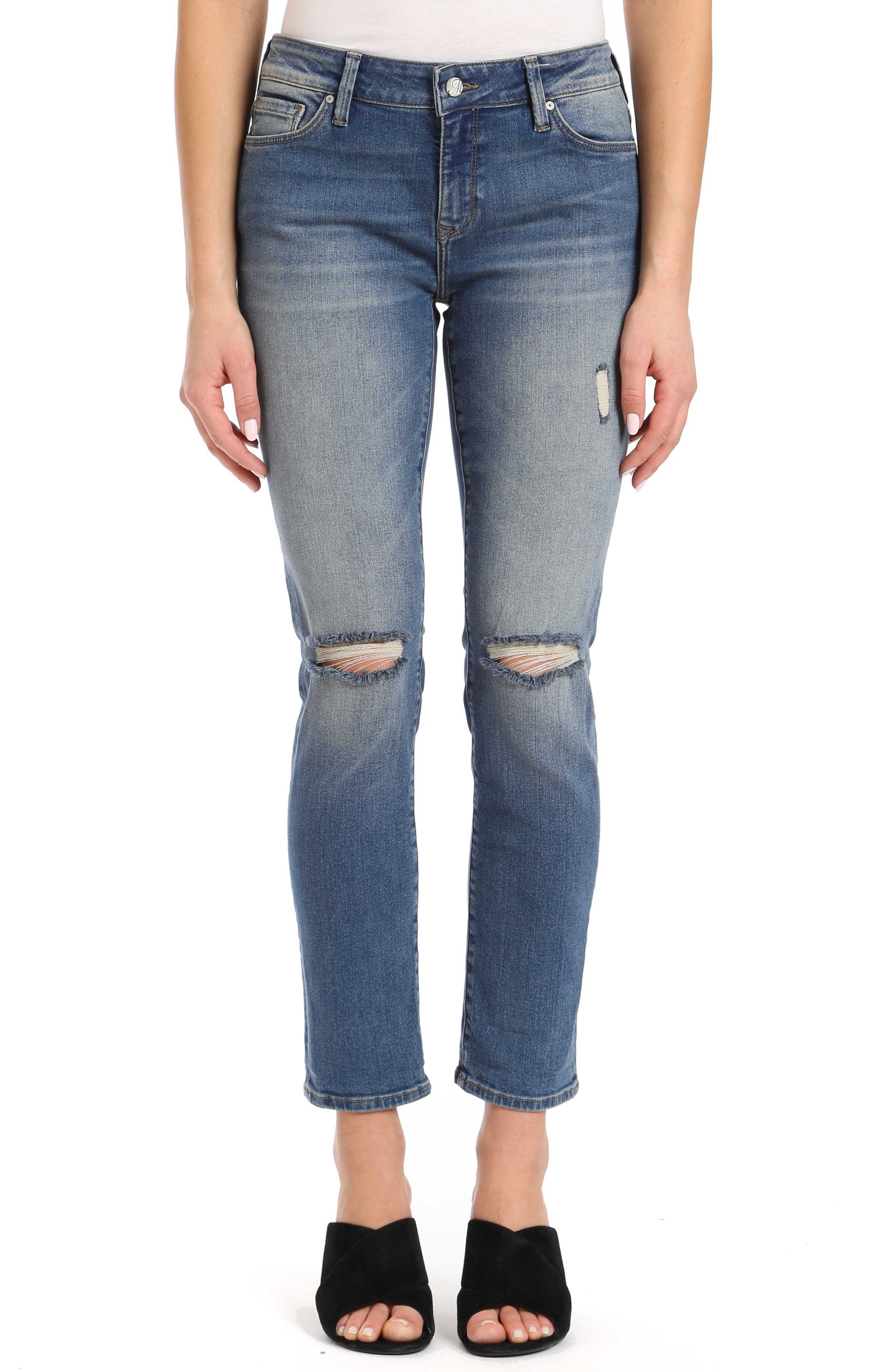 MAVI JEANS Ada Ripped Slim Jeans in Mid Shaded 80S Vintage