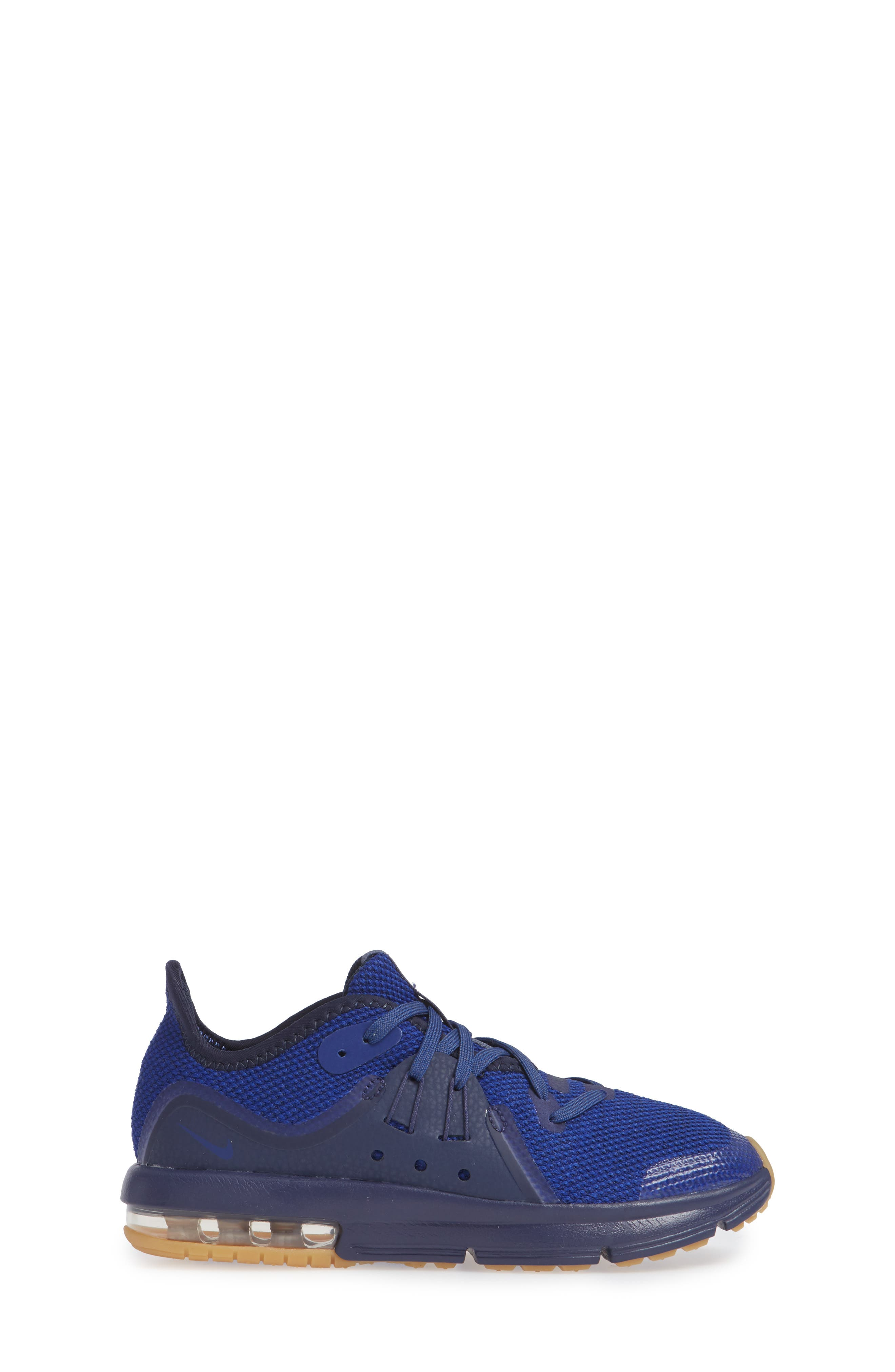 Air Max Sequent 3 GS Running Shoe,                             Alternate thumbnail 5, color,                             Obsidian/ Blue/ Indigo