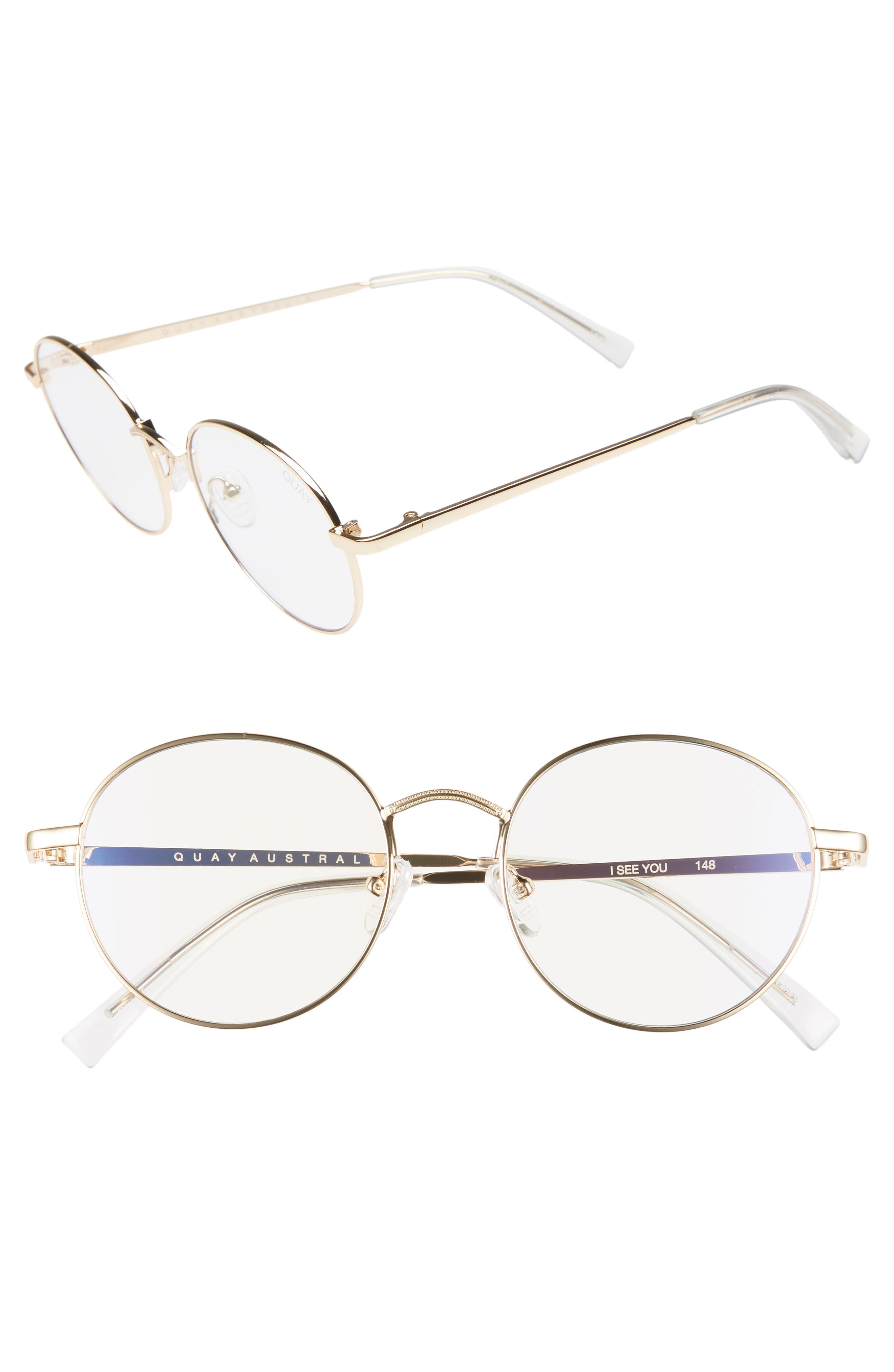 QUAY I SEE YOU 51MM ROUND FASHION GLASSES - GOLD/ CLEAR