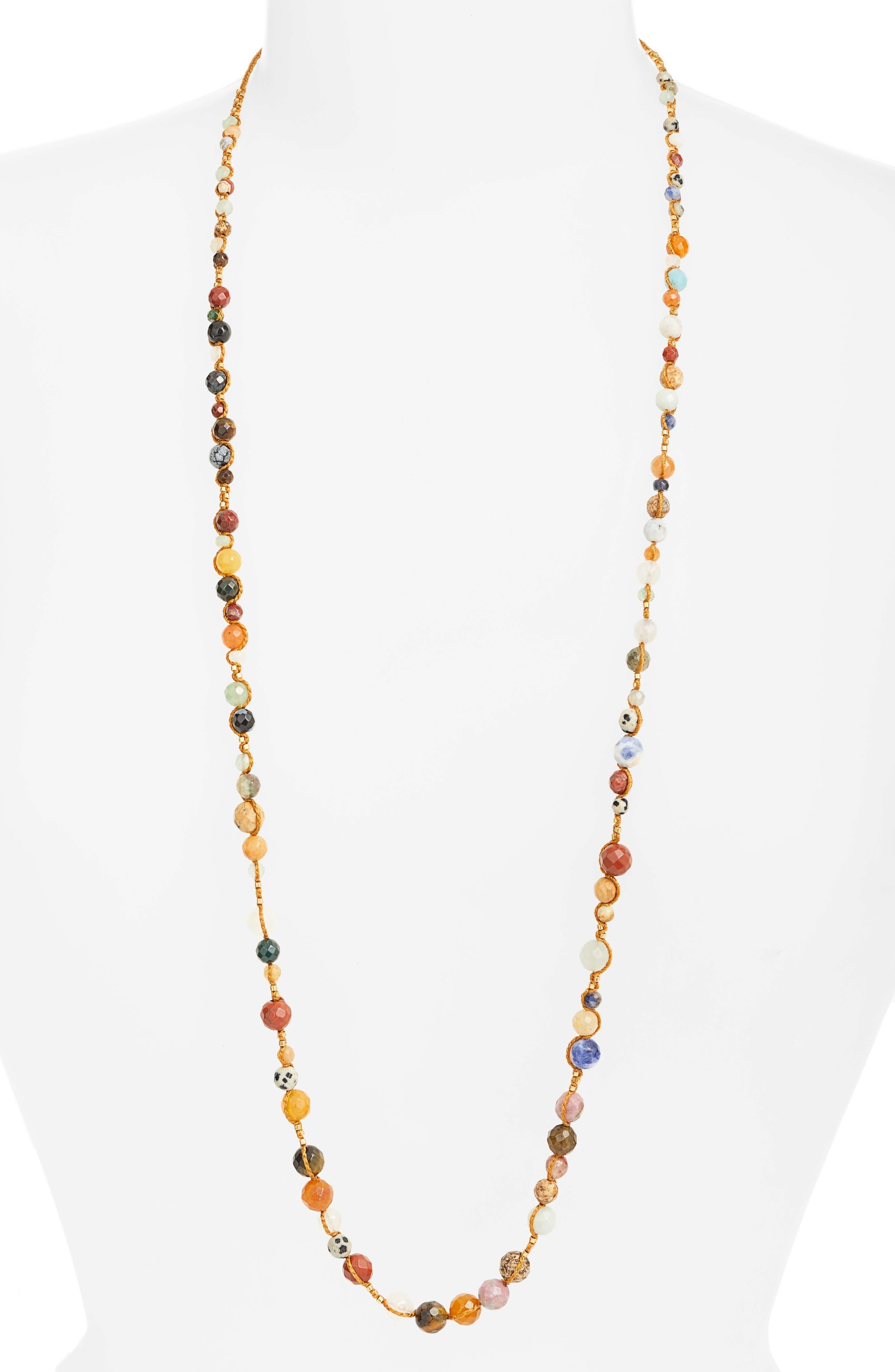 Mixed Semiprecious Stone Necklace,                         Main,                         color, Brown Multi