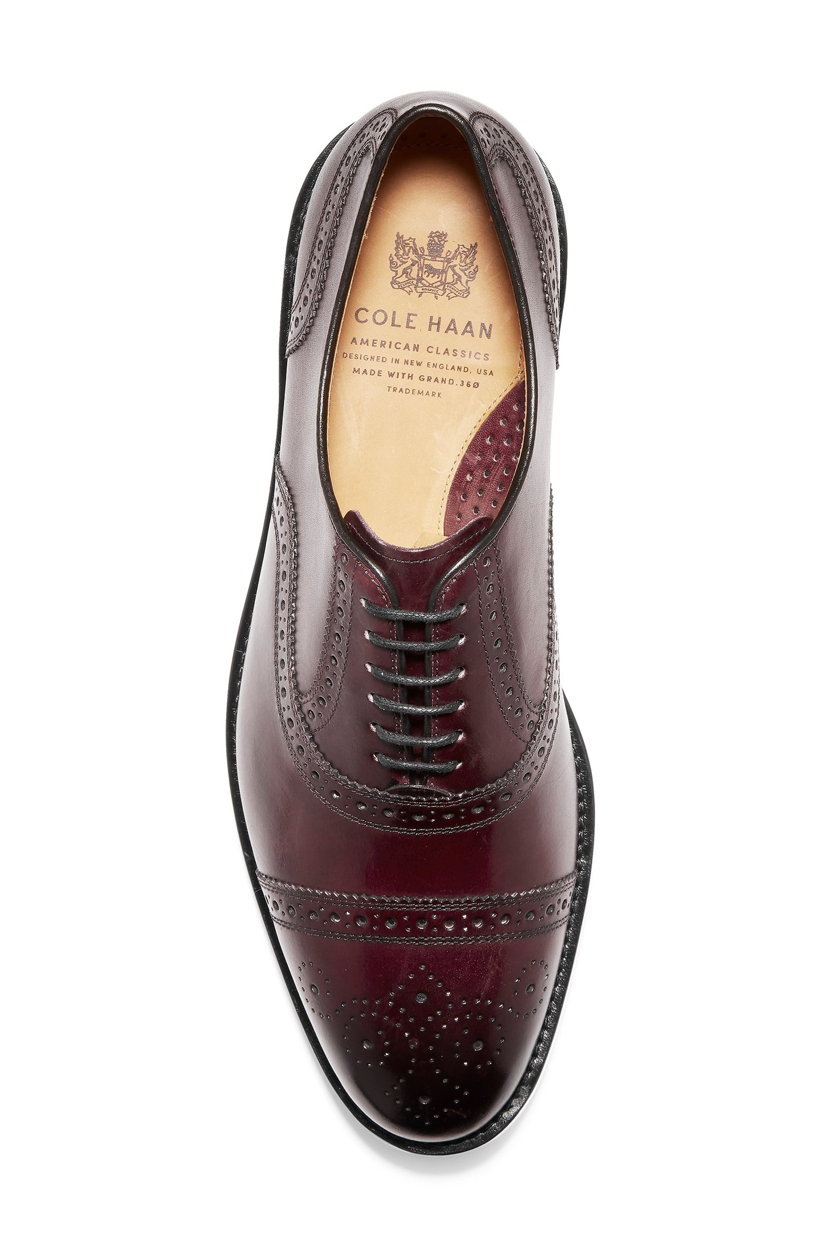 American Classics Kneeland Cap Toe Oxford,                             Alternate thumbnail 6, color,                             Oxblood Leather