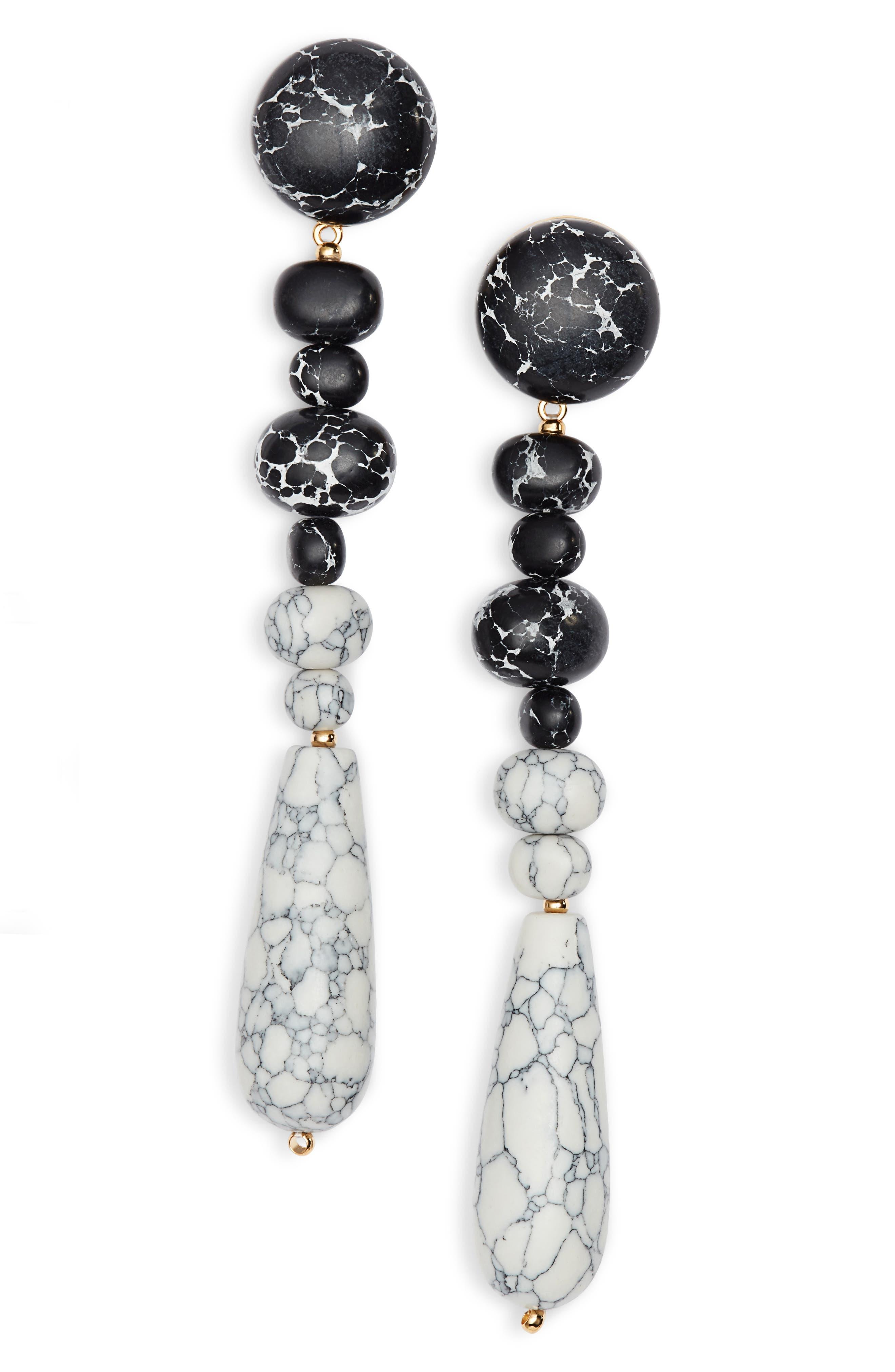 Copacabana Drop Earrings,                         Main,                         color, Black And White