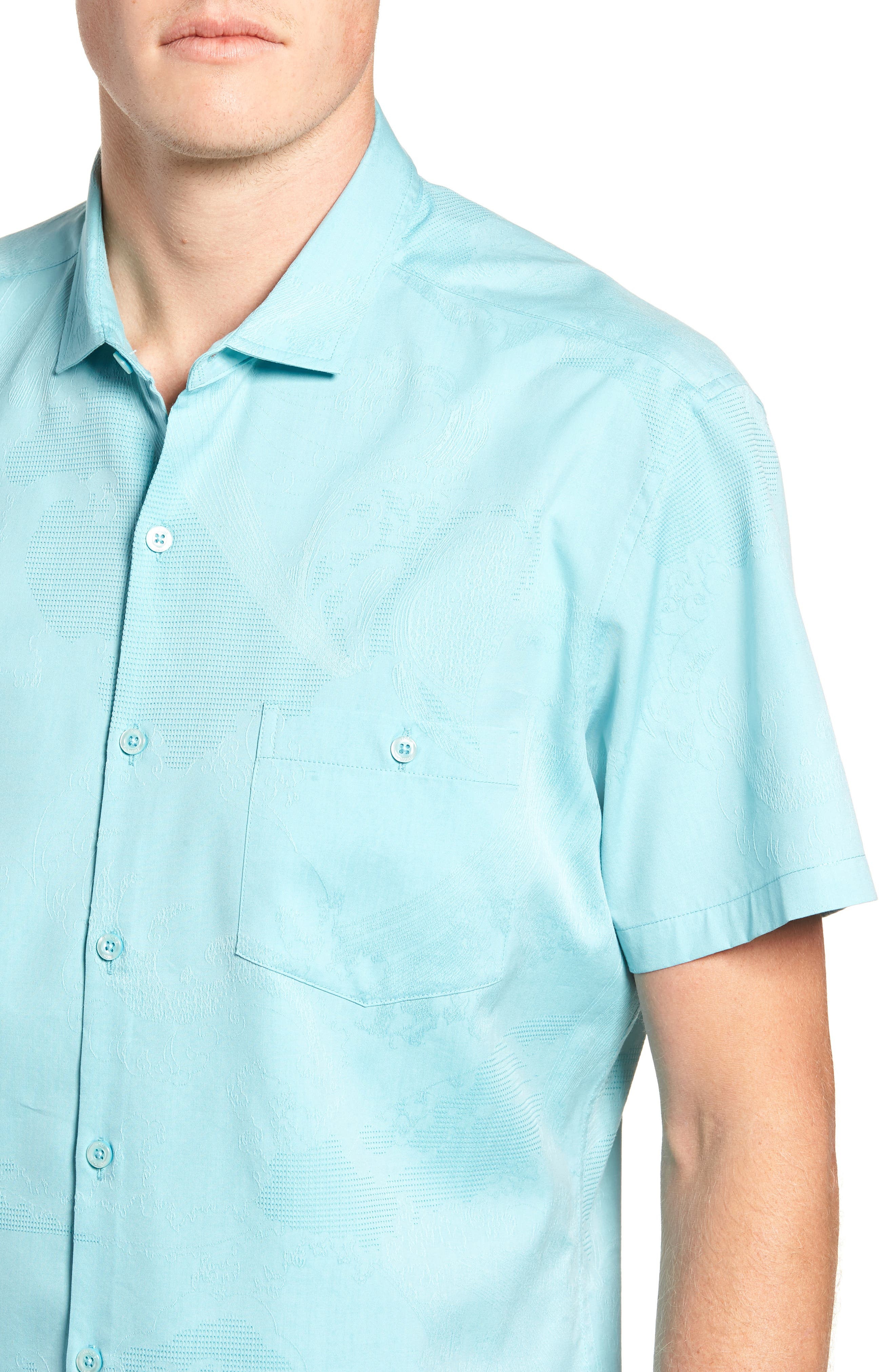 Seas the Day Trim Fit Camp Shirt,                             Alternate thumbnail 2, color,                             Surf