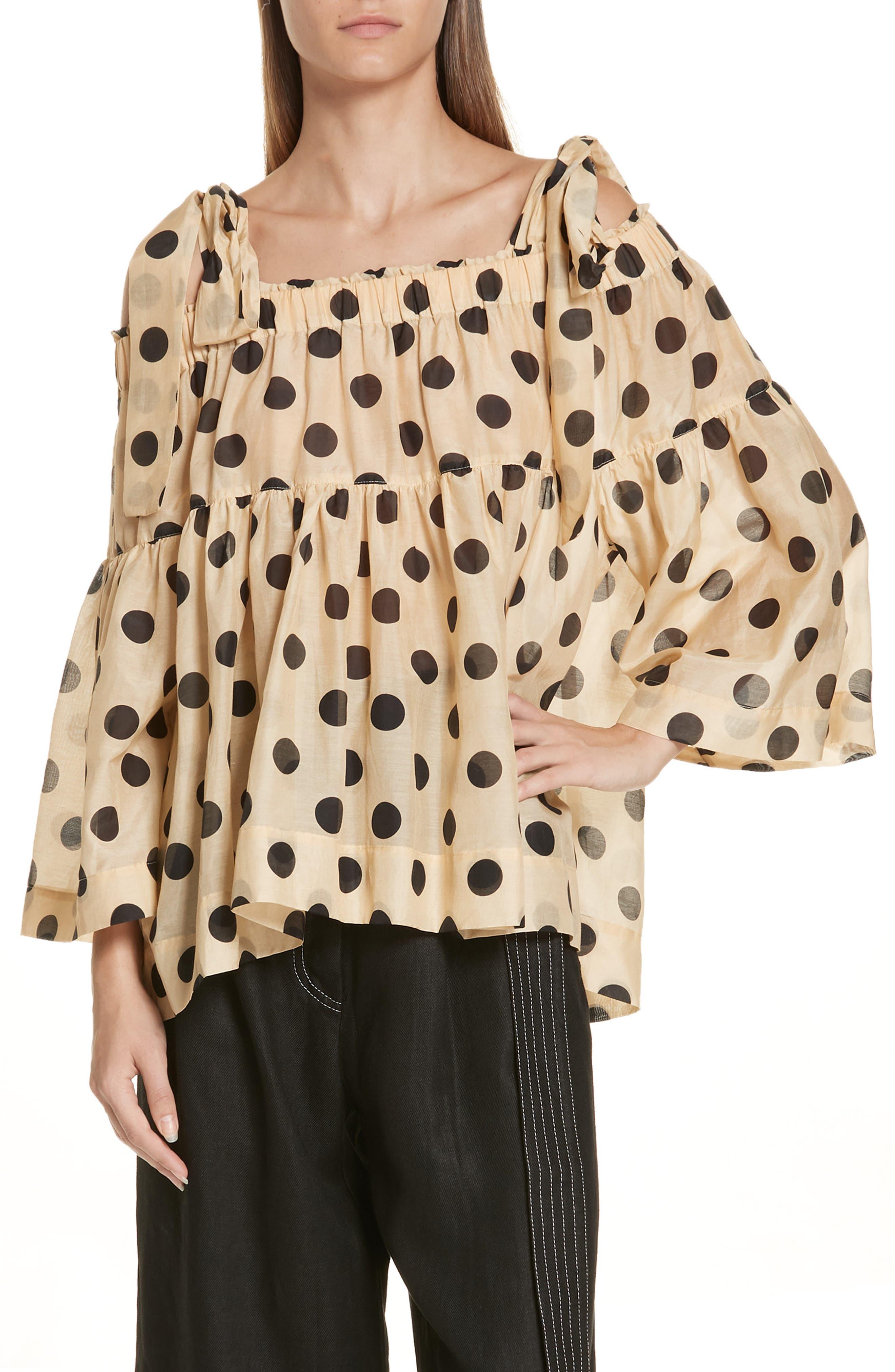 Minnie Polka Dot Cotton & Silk Cold Shoulder Top,                             Main thumbnail 1, color,                             Barley