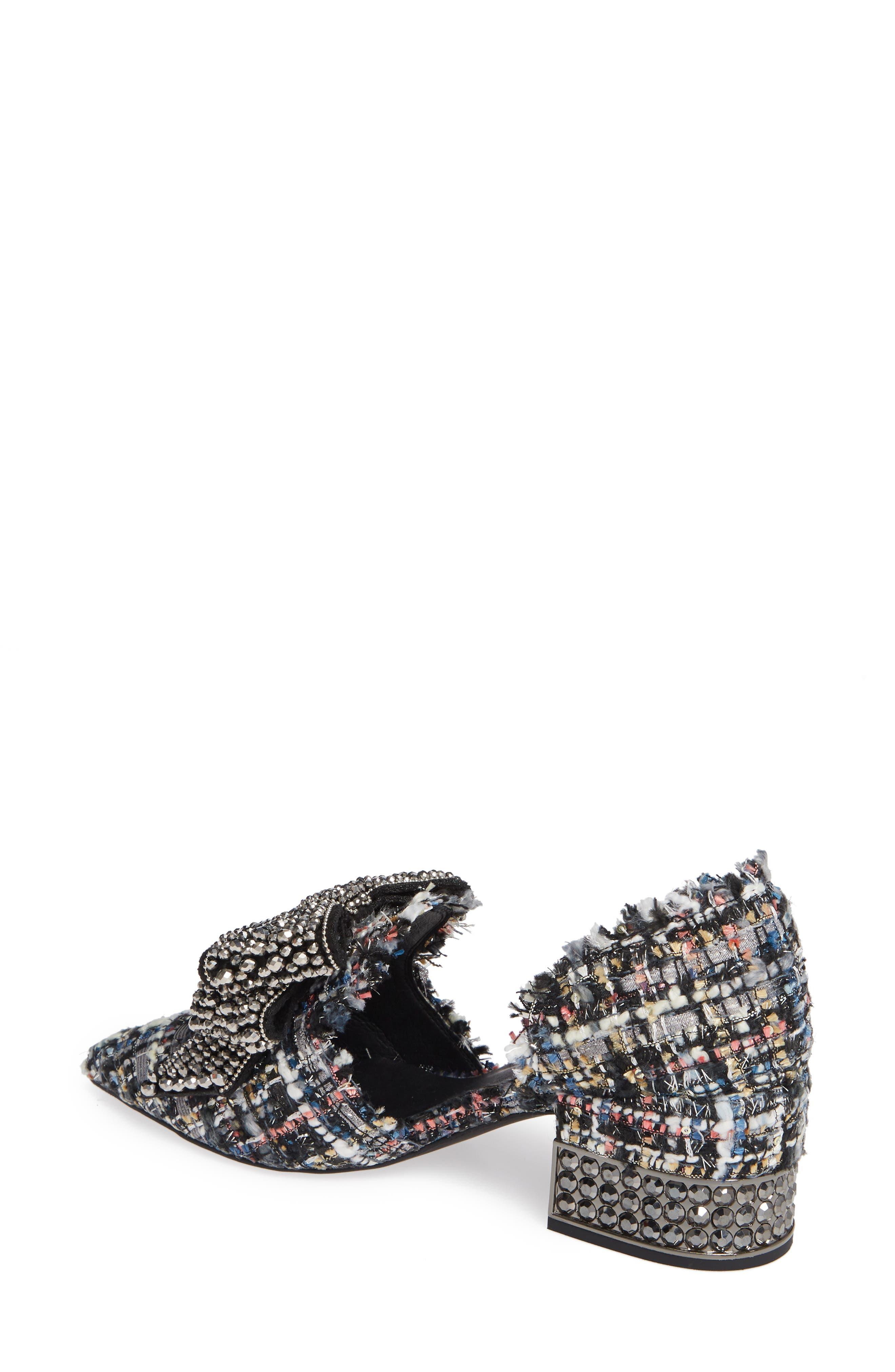 Valenti Embellished Bow Loafer,                             Alternate thumbnail 2, color,                             Black Multi Tweed Pewter
