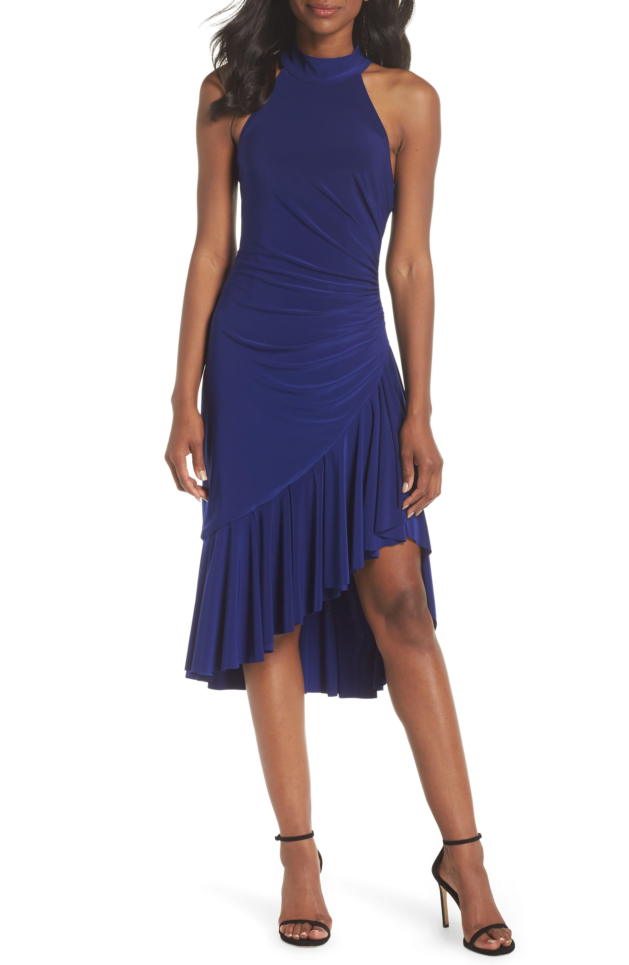 Halter Cascade Dress,                         Main,                         color, Cobalt