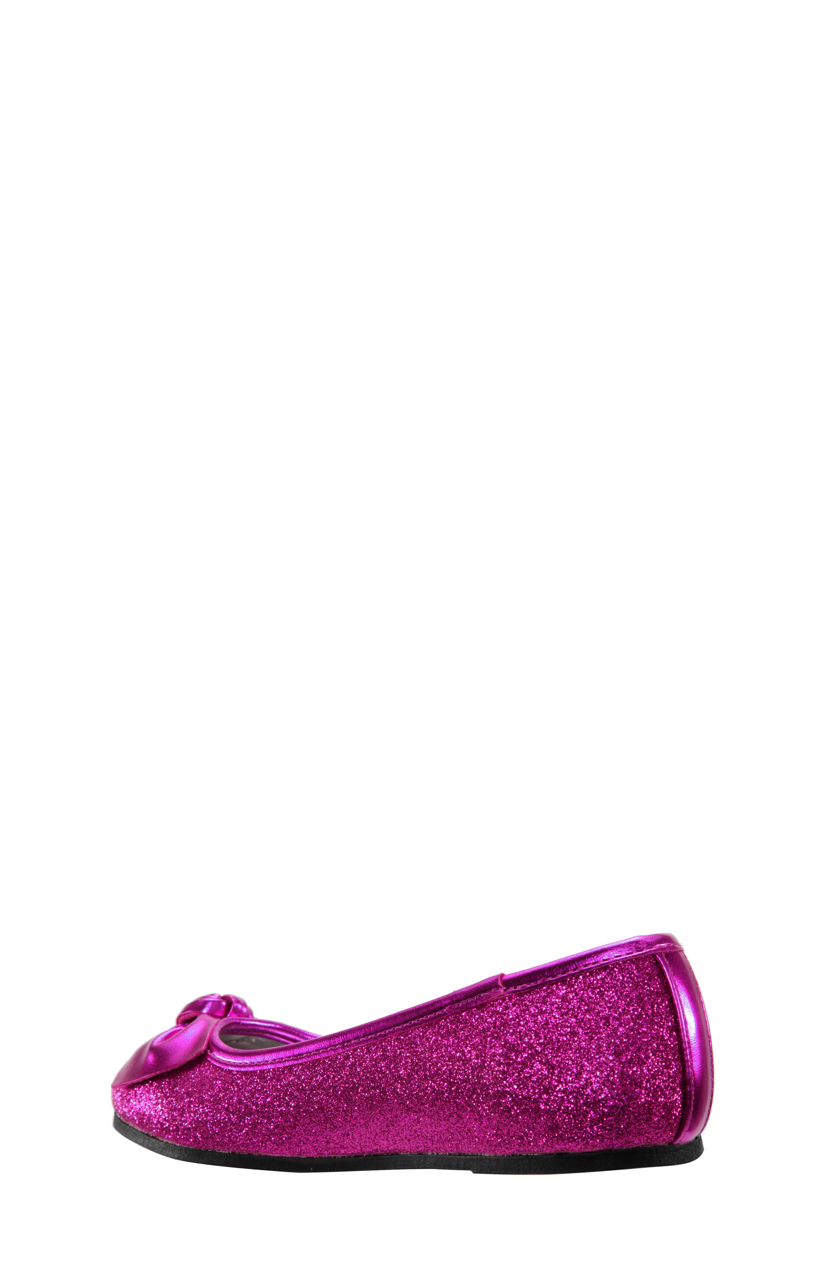 Larabeth Glitter Ballet Flat,                             Alternate thumbnail 4, color,                             Berry Metallic/ Glitter