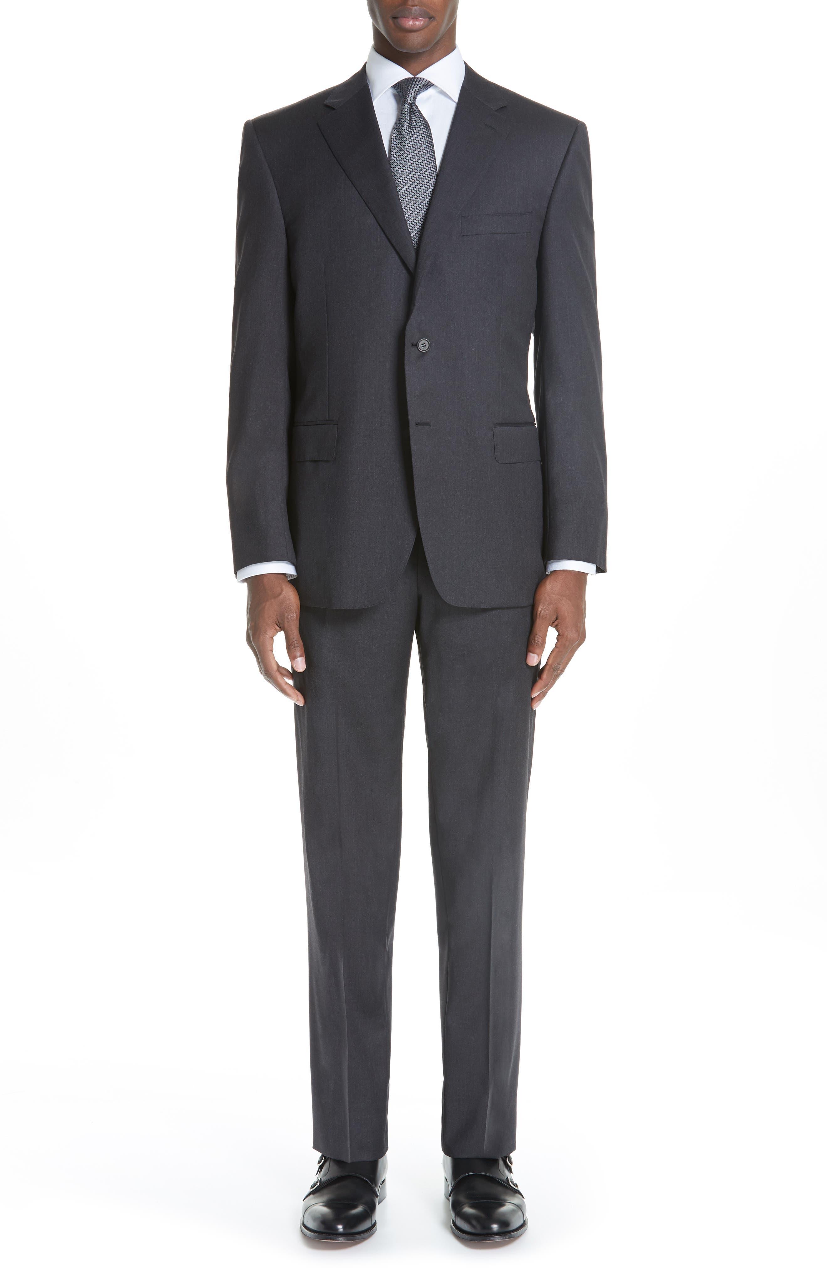 Trim Fit Wool Suit,                         Main,                         color, Charcoal