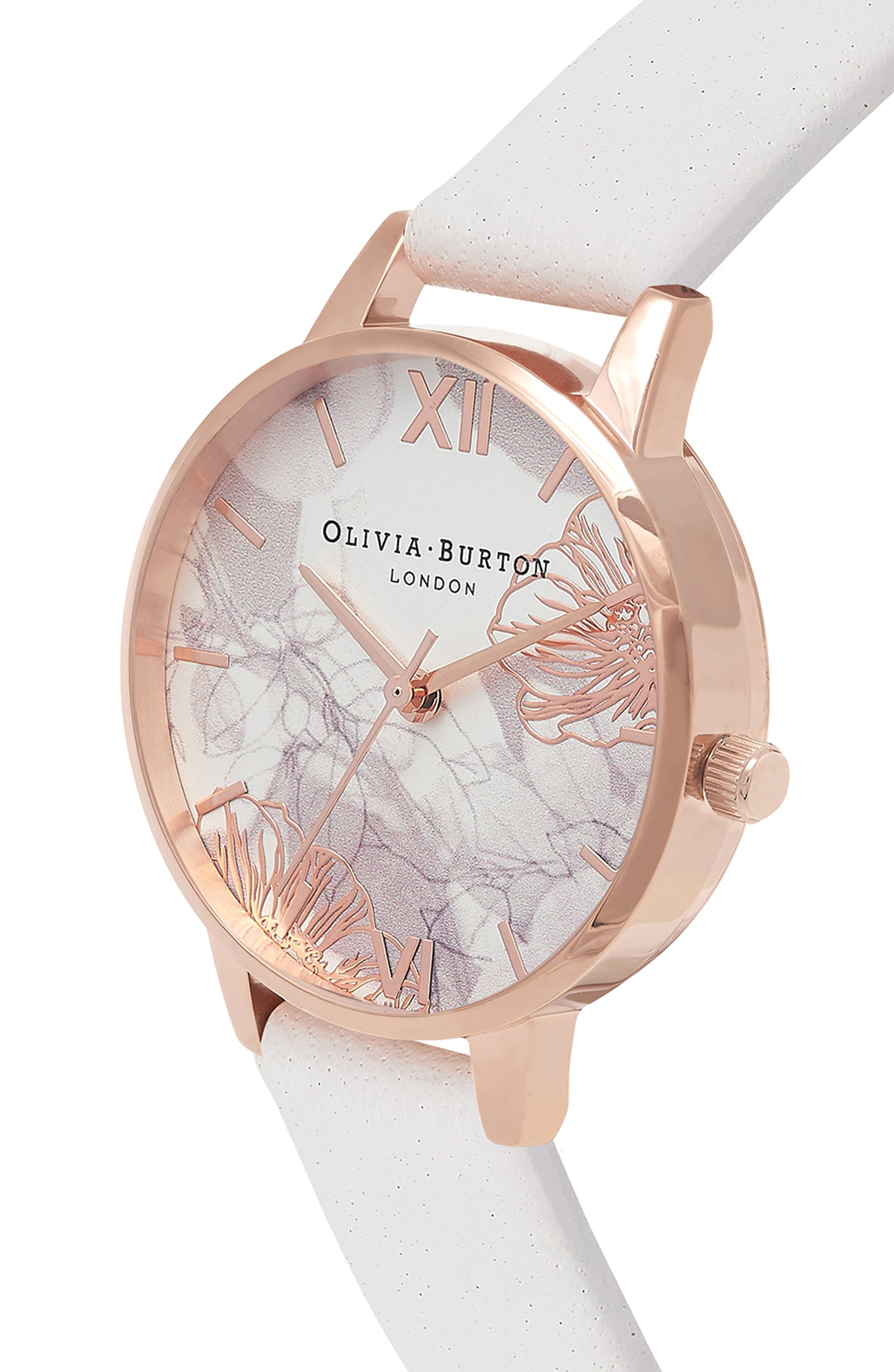 Abstract Florals Leather Strap Watch, 30mm,                             Alternate thumbnail 2, color,                             Blush/ Rose Gold