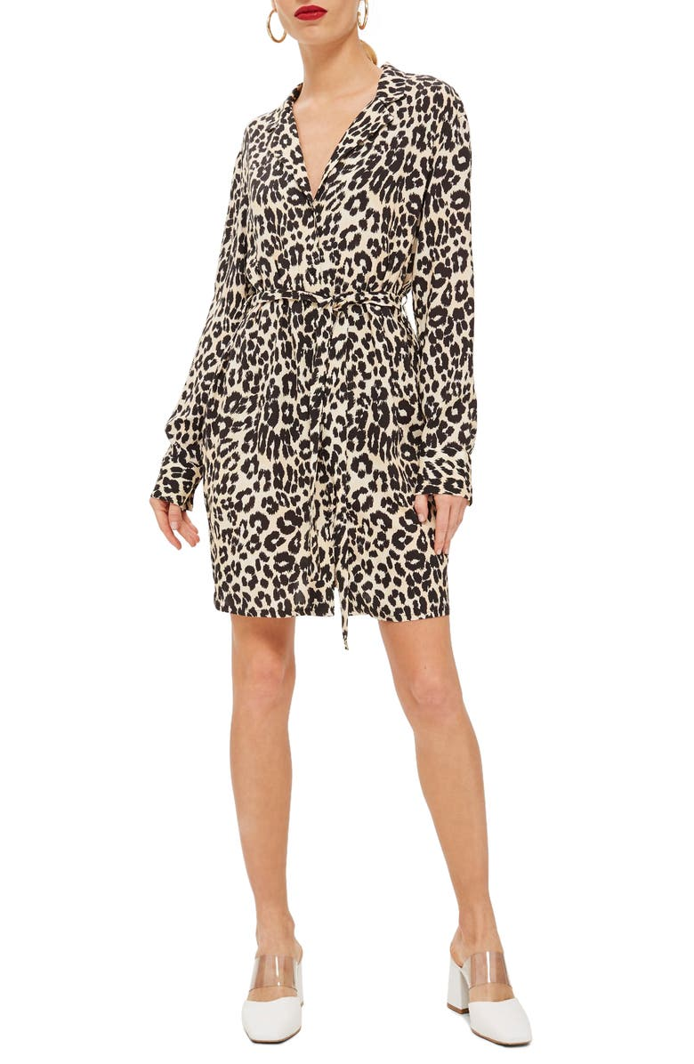 Leopard Print Pajama Shirtdress