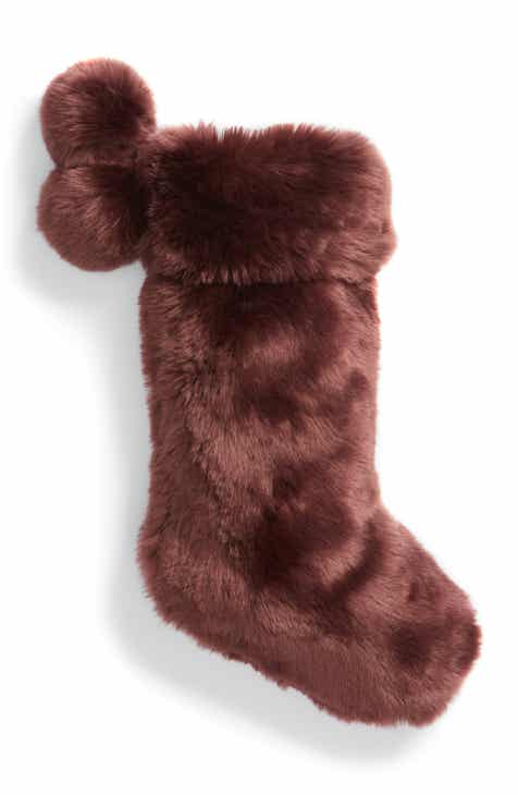 nordstrom at home cuddle up faux fur stocking - Purple Christmas Stocking