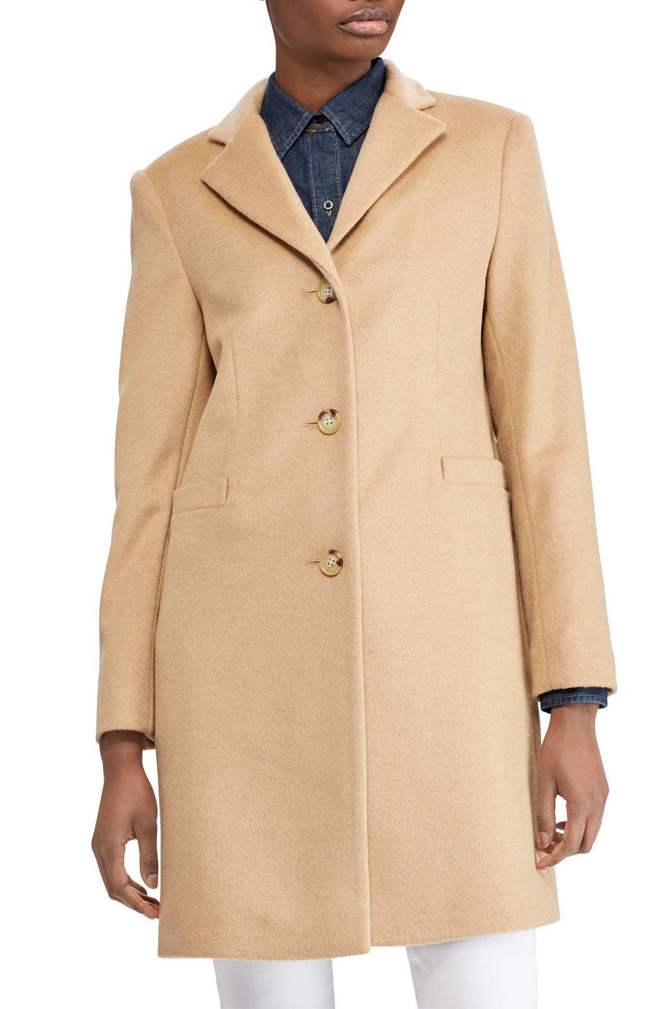 Wool Blend Reefer Coat,                             Main thumbnail 1, color,                             Camel