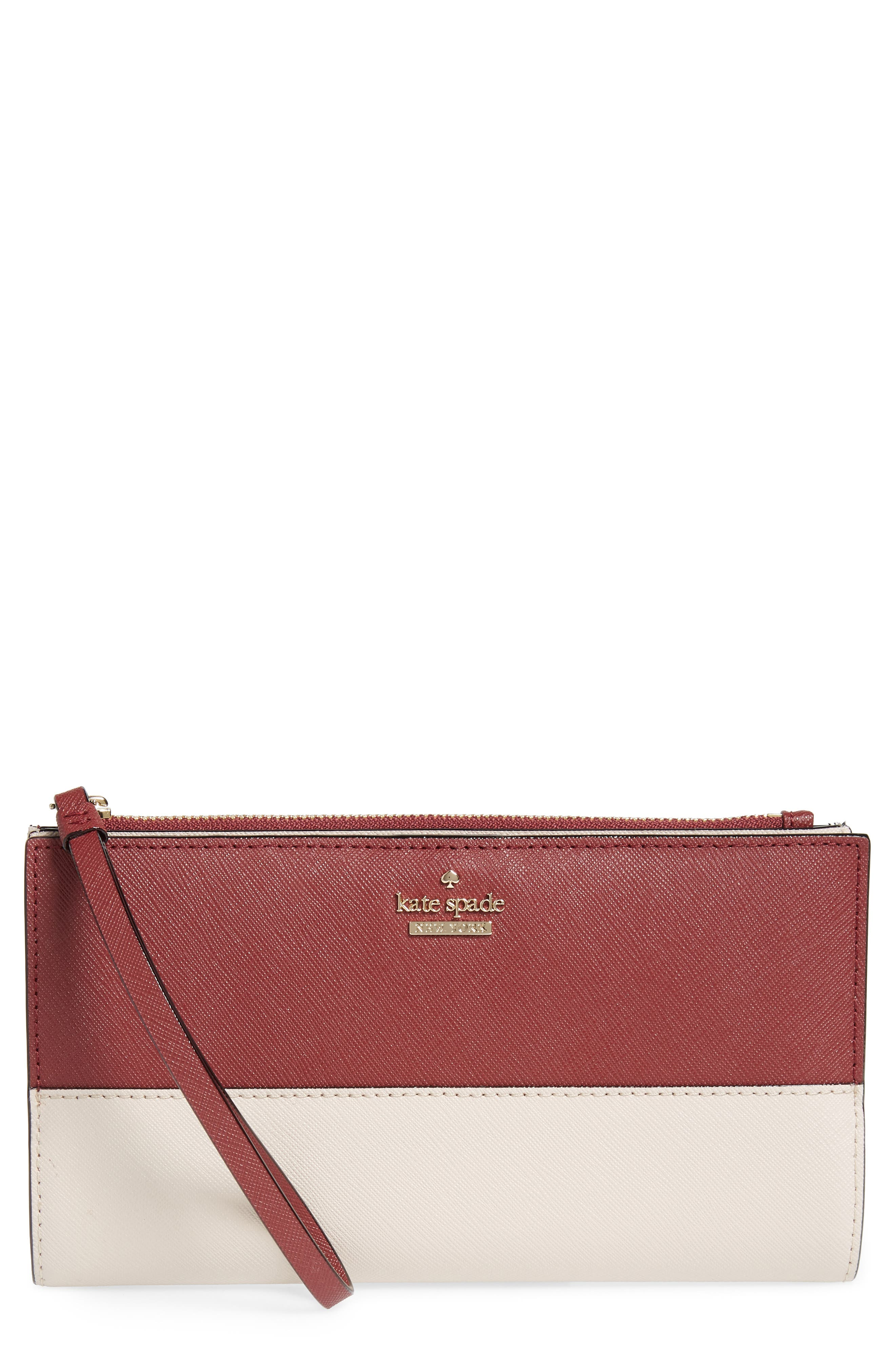cameron street - eliza leather wallet,                             Main thumbnail 1, color,                             Sienna/ Tusk