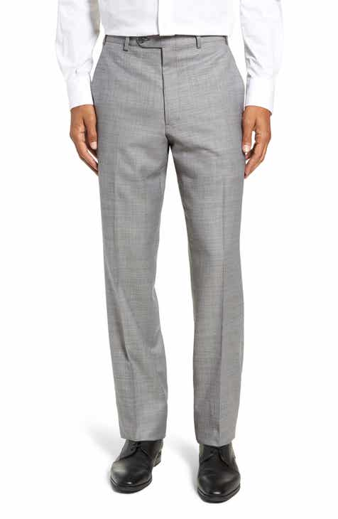 03a9e271e76 John W. Nordstrom® Traditional Fit Flat Front Solid Wool Trousers