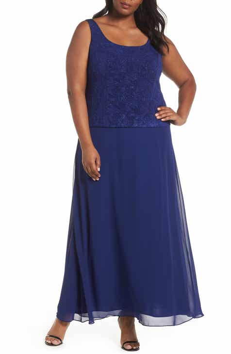 e6ee2473edea1 Alex Evenings Lace   Chiffon Gown with Jacket (Plus Size)