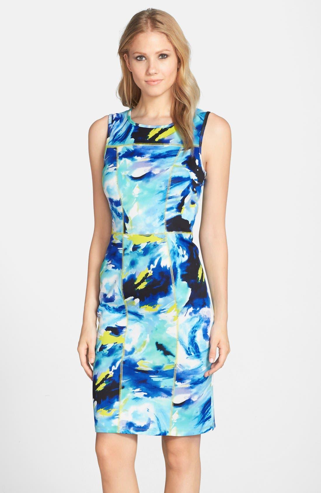 Main Image - Maggy London Print Scuba Sheath Dress