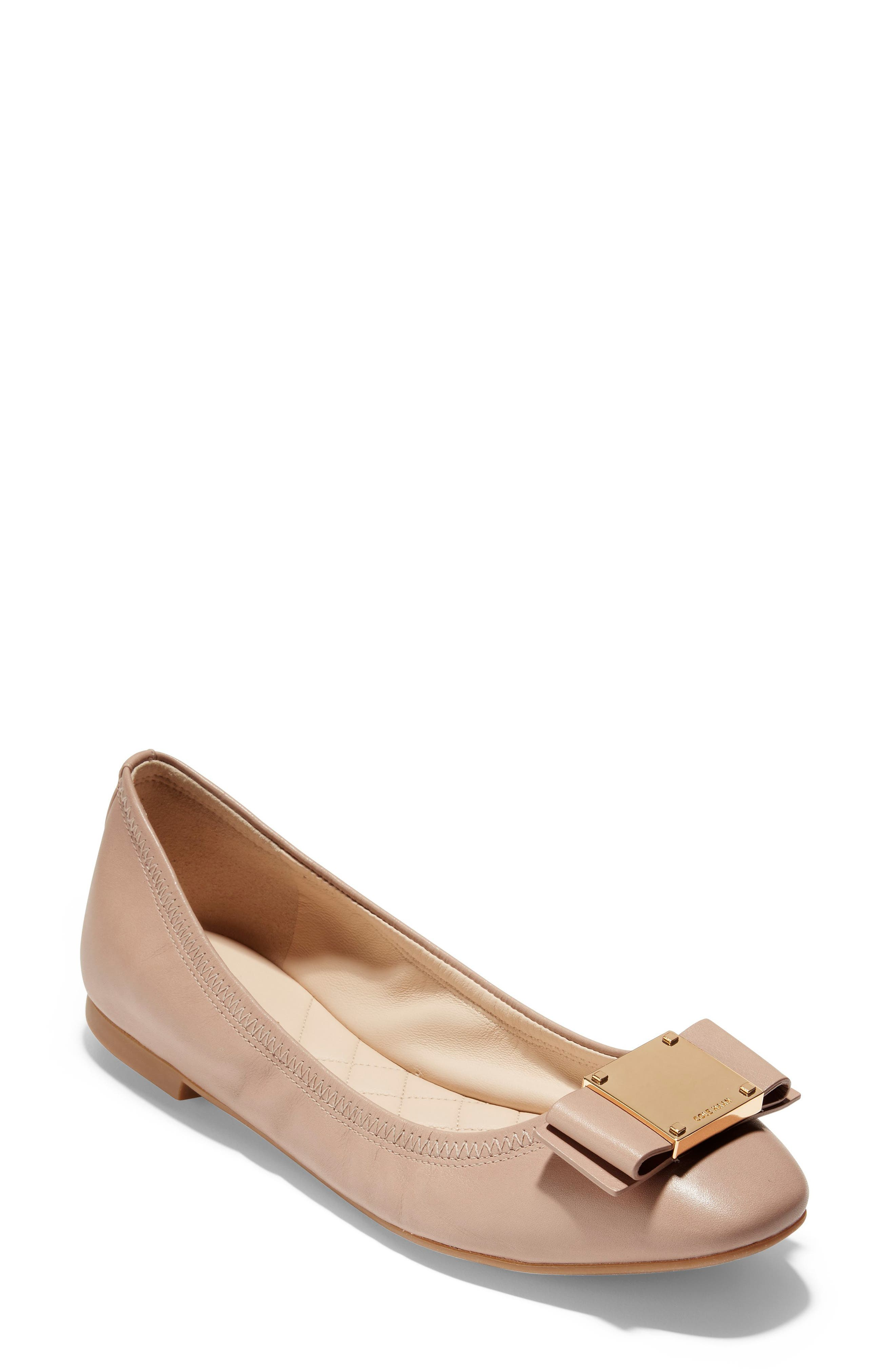 Tali Modern Bow Ballet Flat,                             Main thumbnail 1, color,                             Nude Leather