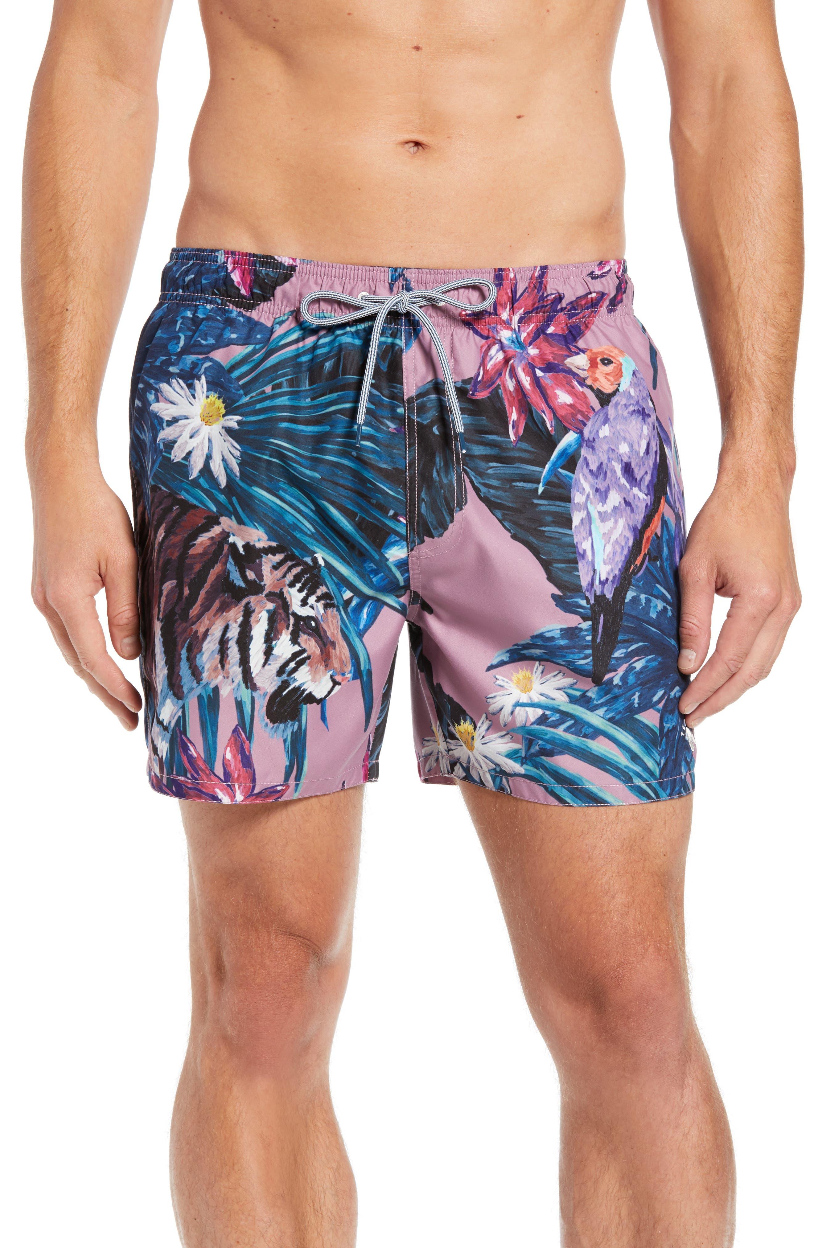 Nemo Tiger Print Swim Shorts,                         Main,                         color, Pink