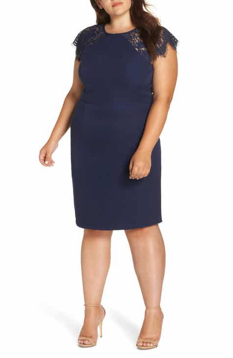 Chi Chi London Lace Detail Sheath Dress (Plus Size)