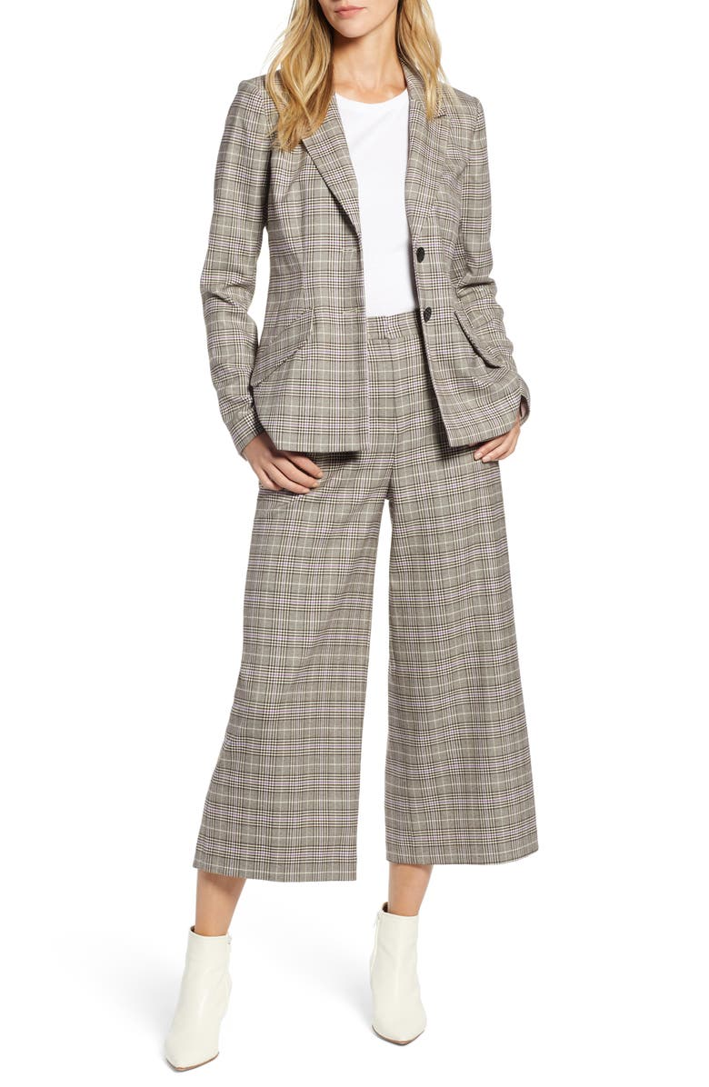 1920s Skirts, Gatsby Skirts, Vintage Pleated Skirts Plaid Wide Leg Crop Pants Petite Womens Halogen $89.00 AT vintagedancer.com