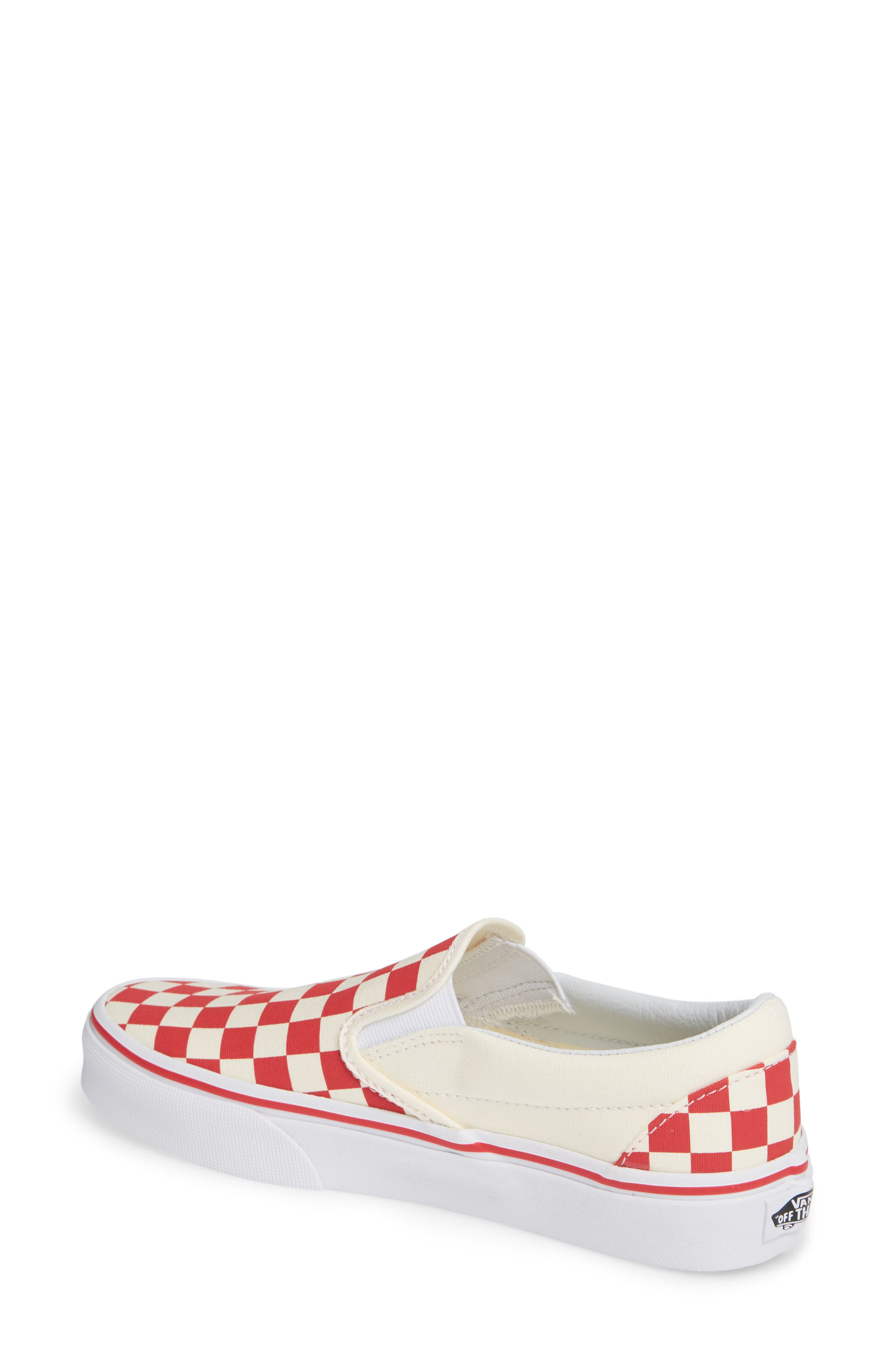 'Classic' Slip-On,                             Alternate thumbnail 2, color,                             Racing Red/ White