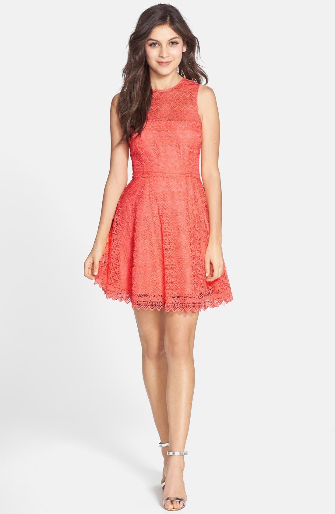 Alternate Image 3  - BB Dakota Zigzag Lace Fit & Flare Dress