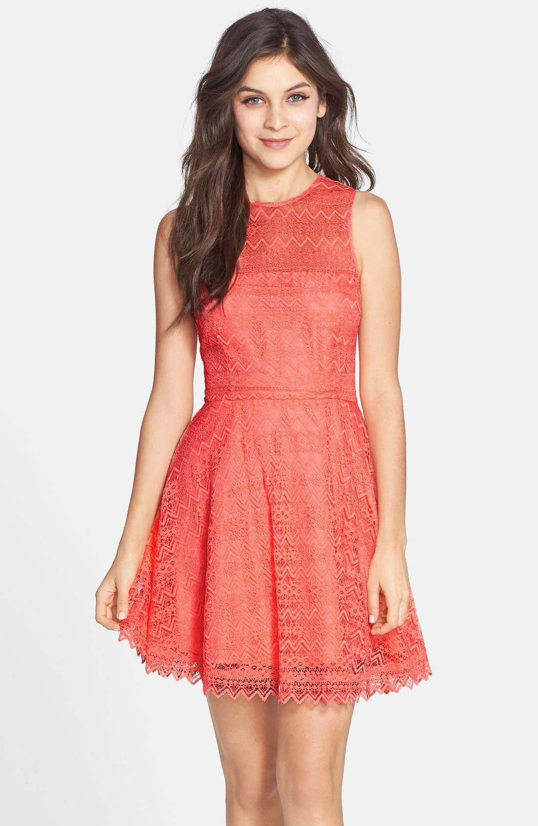 Main Image - BB Dakota Zigzag Lace Fit & Flare Dress