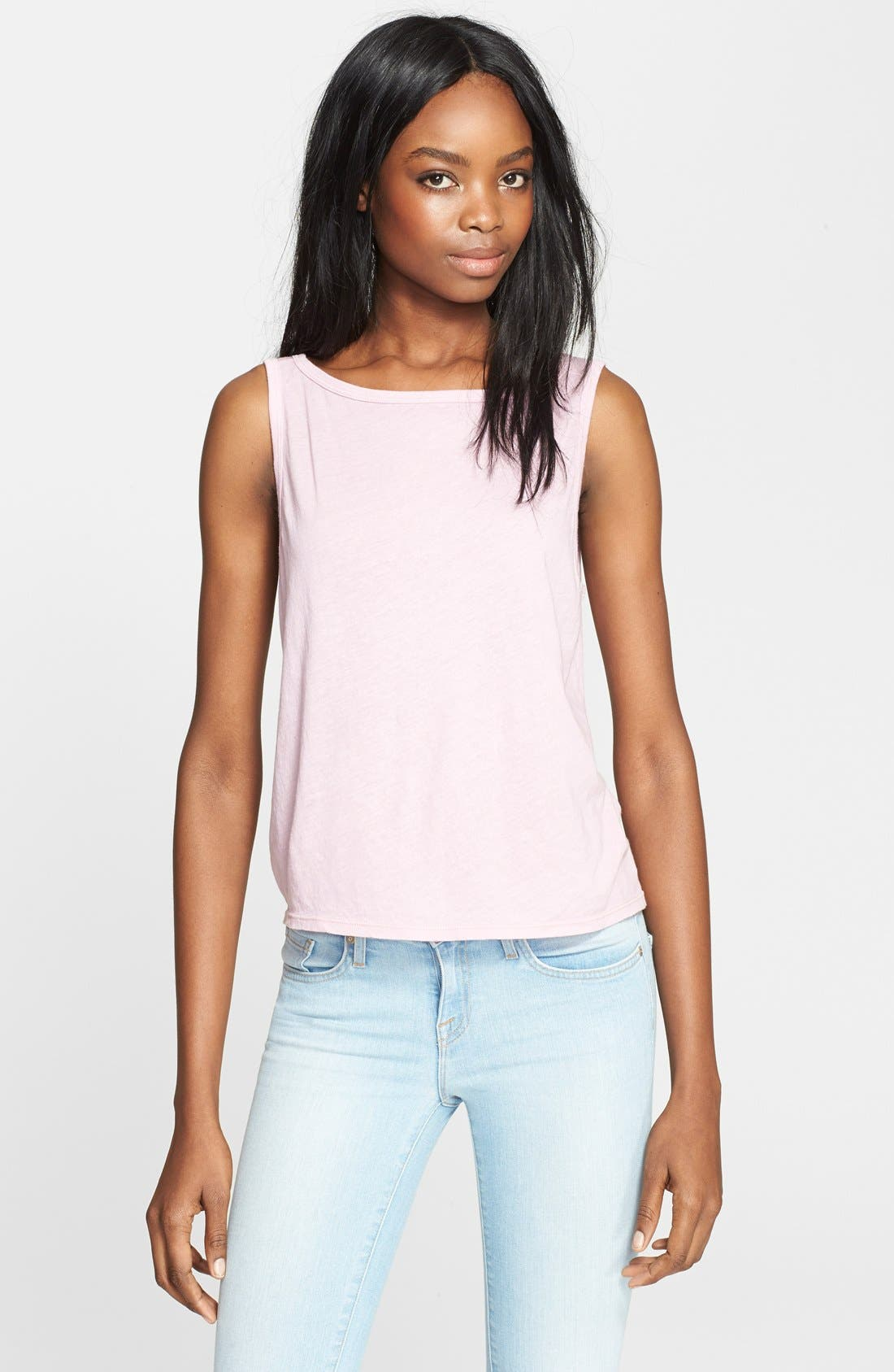 Alternate Image 1 Selected - Enza Costa Scoop Back Tissue Jersey Tank