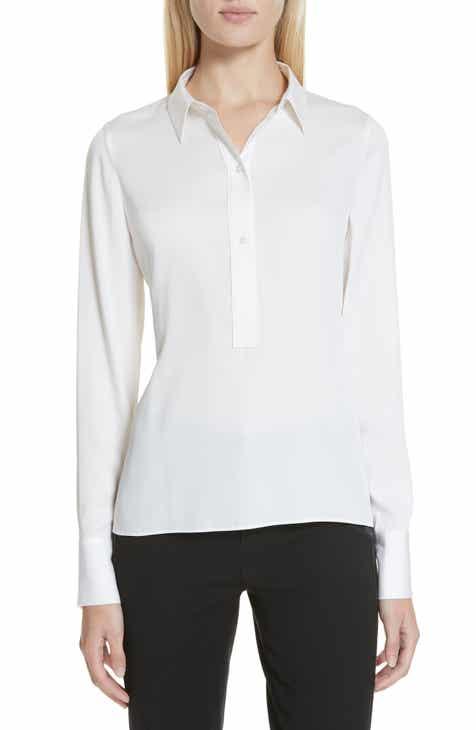 dd027f9922a39 Vince Slim Fitted Stretch Silk Blend Shirt