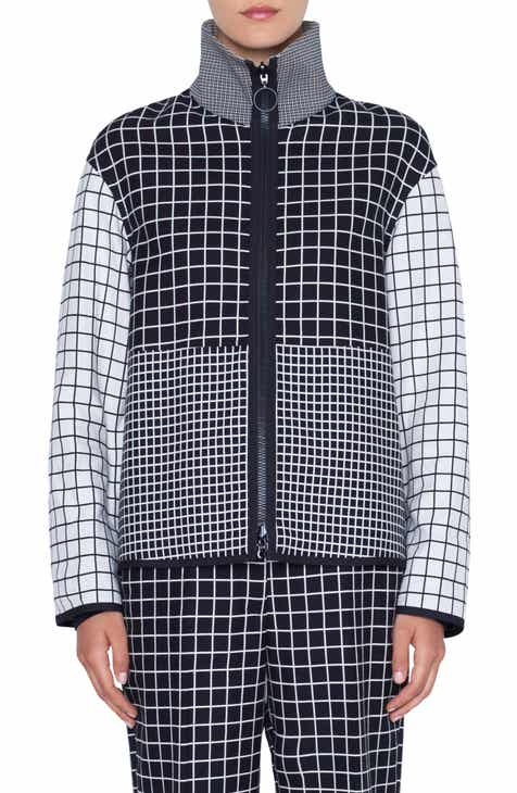Akris punto Grid Jacquard Zip Jacket by AKRIS PUNTO