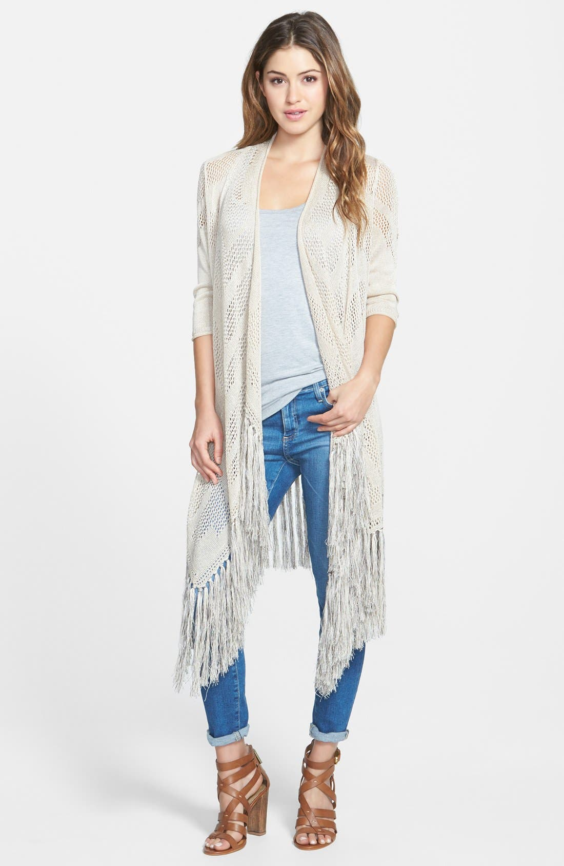 Long Textured Fringe Cardigan,                             Main thumbnail 1, color,                             Porcini