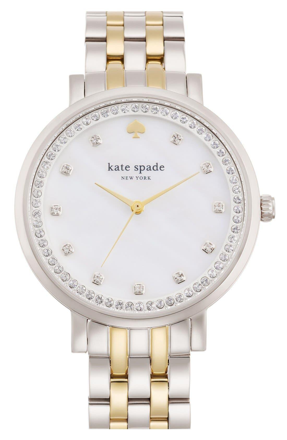 kate spade new york 'monterey' crystal dial bracelet watch, 38mm