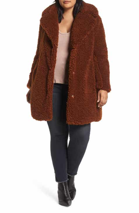 1639f9bddbe kensie Faux Shearling Coat (Plus Size)
