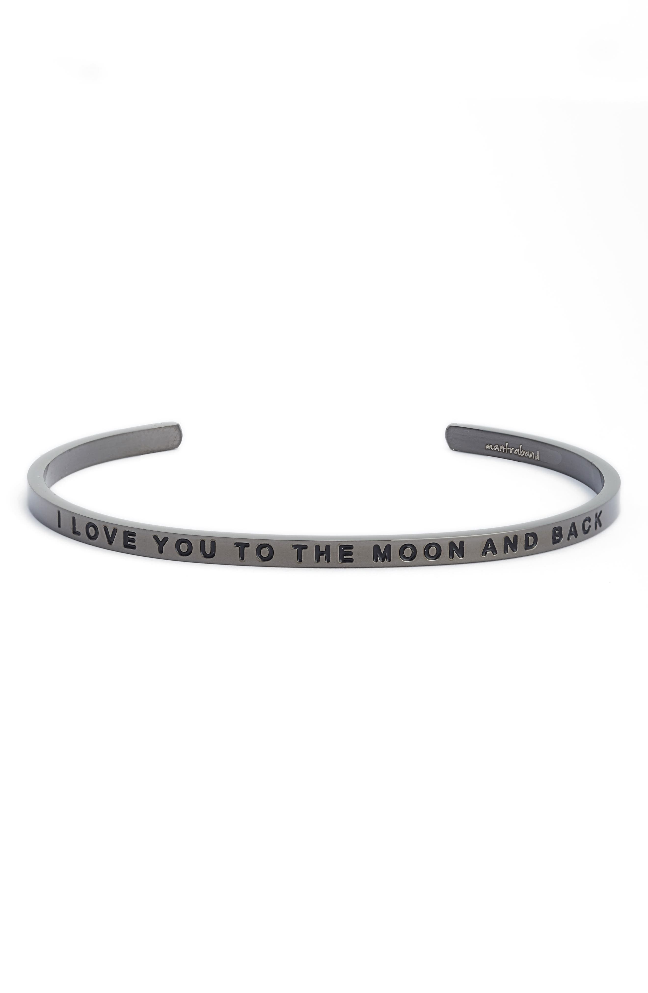 'I Love You to the Moon and Back' Cuff,                             Main thumbnail 1, color,                             Moon Gray